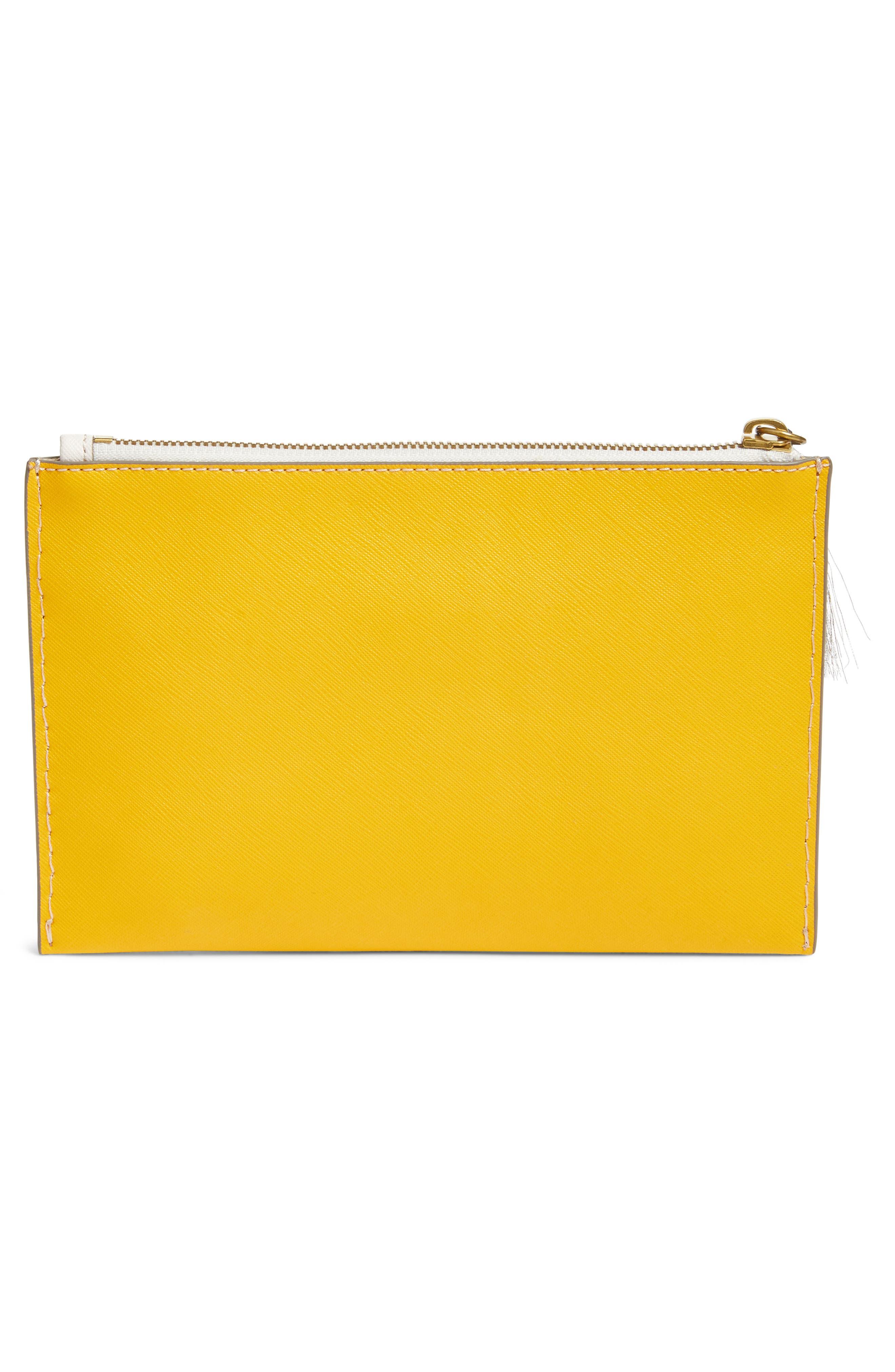 J.Crew Medium Color Block Leather Pouch,                             Alternate thumbnail 3, color,                             Sunflower Orchid