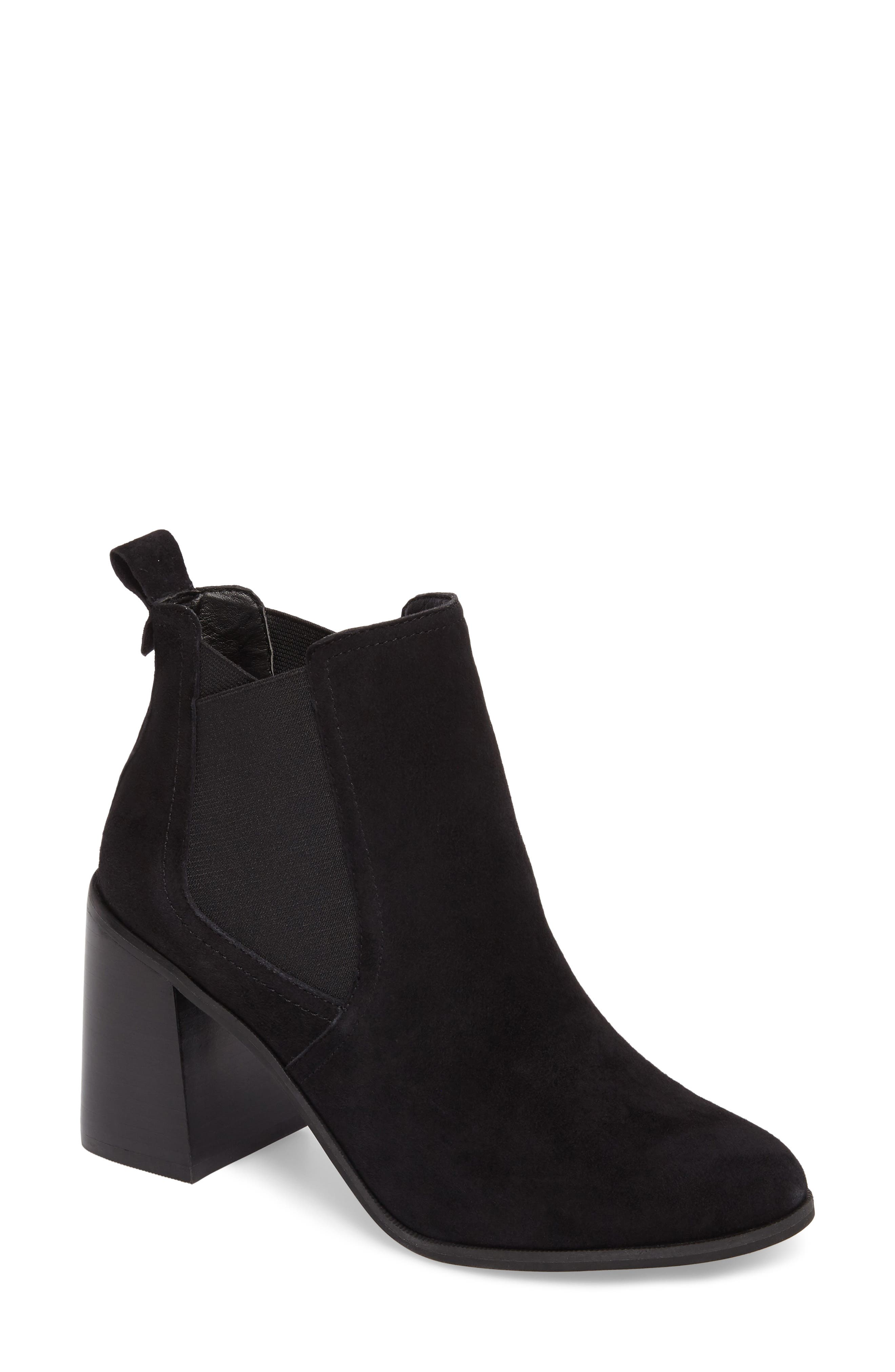 Quinn Flared Heel Chelsea Bootie,                             Main thumbnail 1, color,                             Black Suede