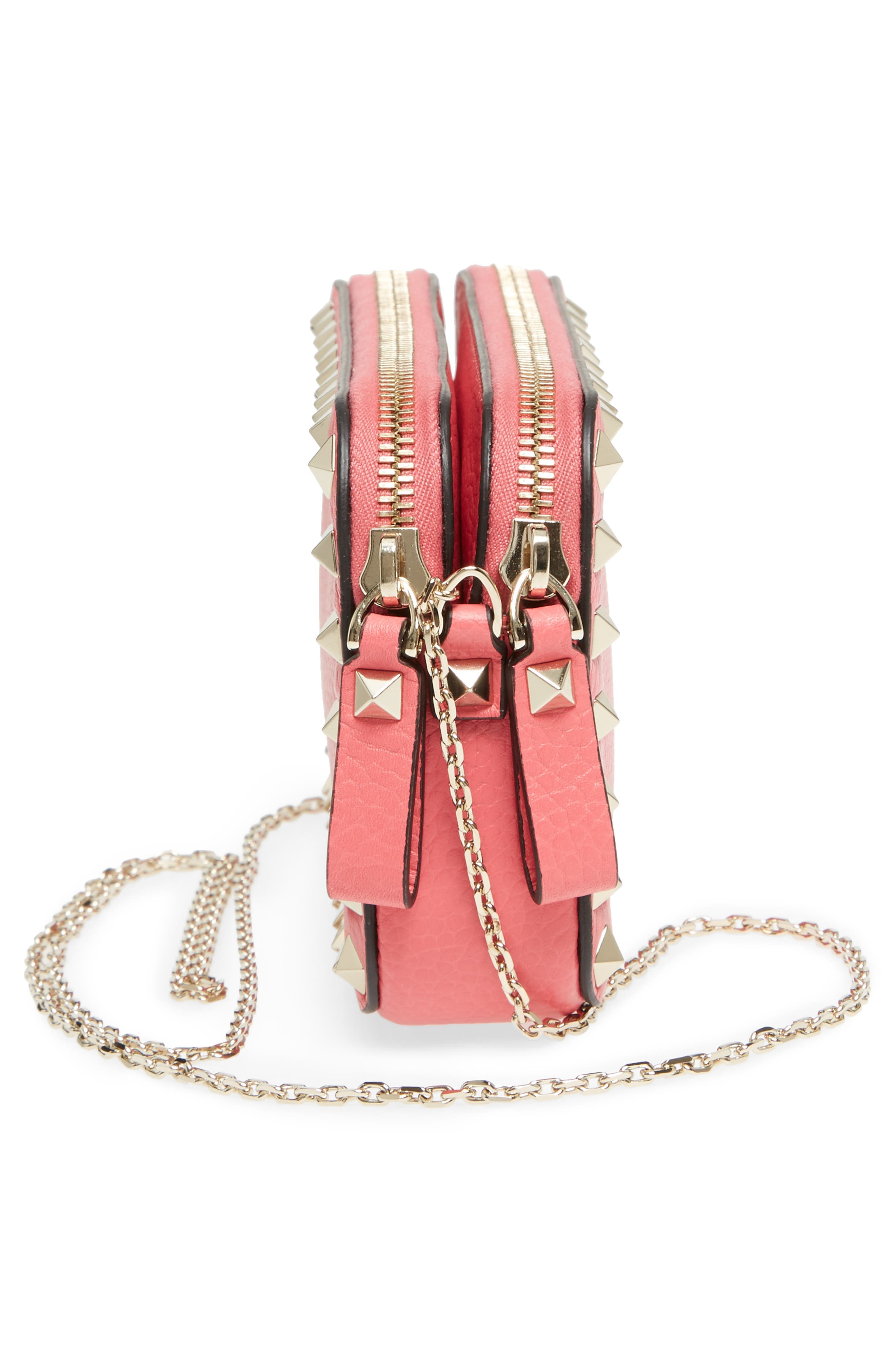 Rockstud Leather Pouch,                             Alternate thumbnail 5, color,                             Shadow Pink