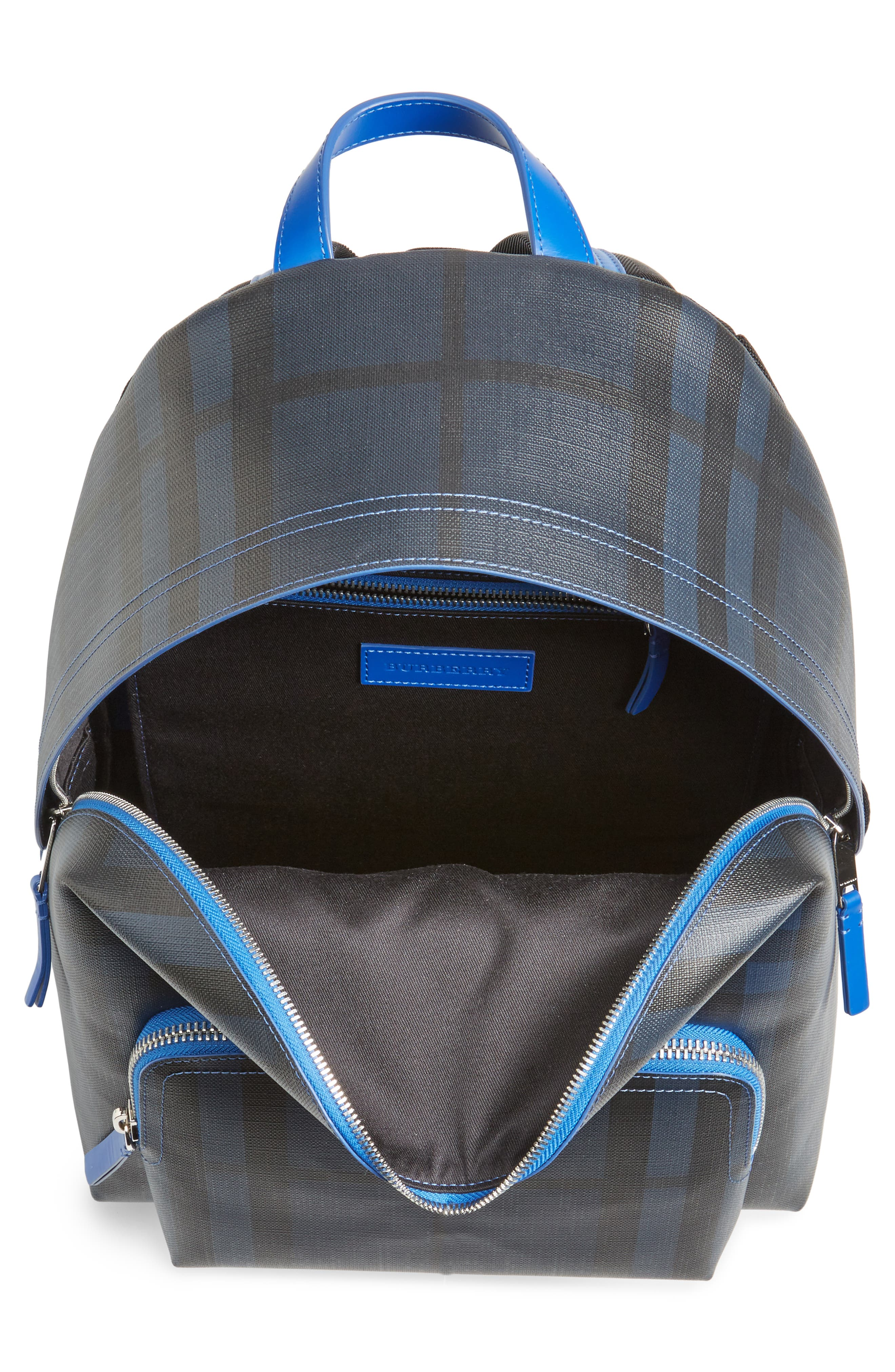 Check Faux Leather Backpack,                             Alternate thumbnail 4, color,                             Navy/ Blue