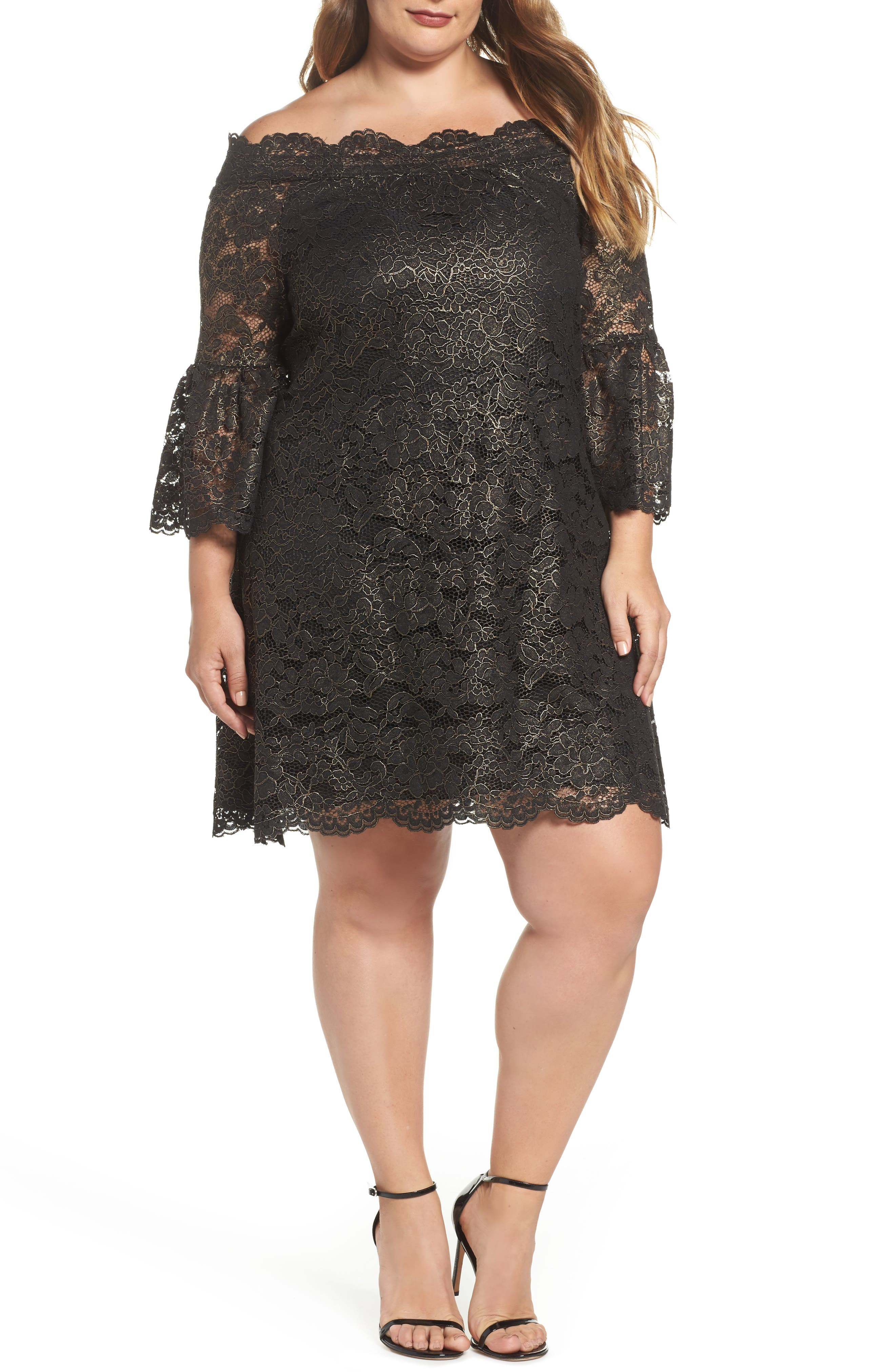 Alternate Image 1 Selected - ELVI Off the Shoulder Black Gold Lace Dress (Plus Size)