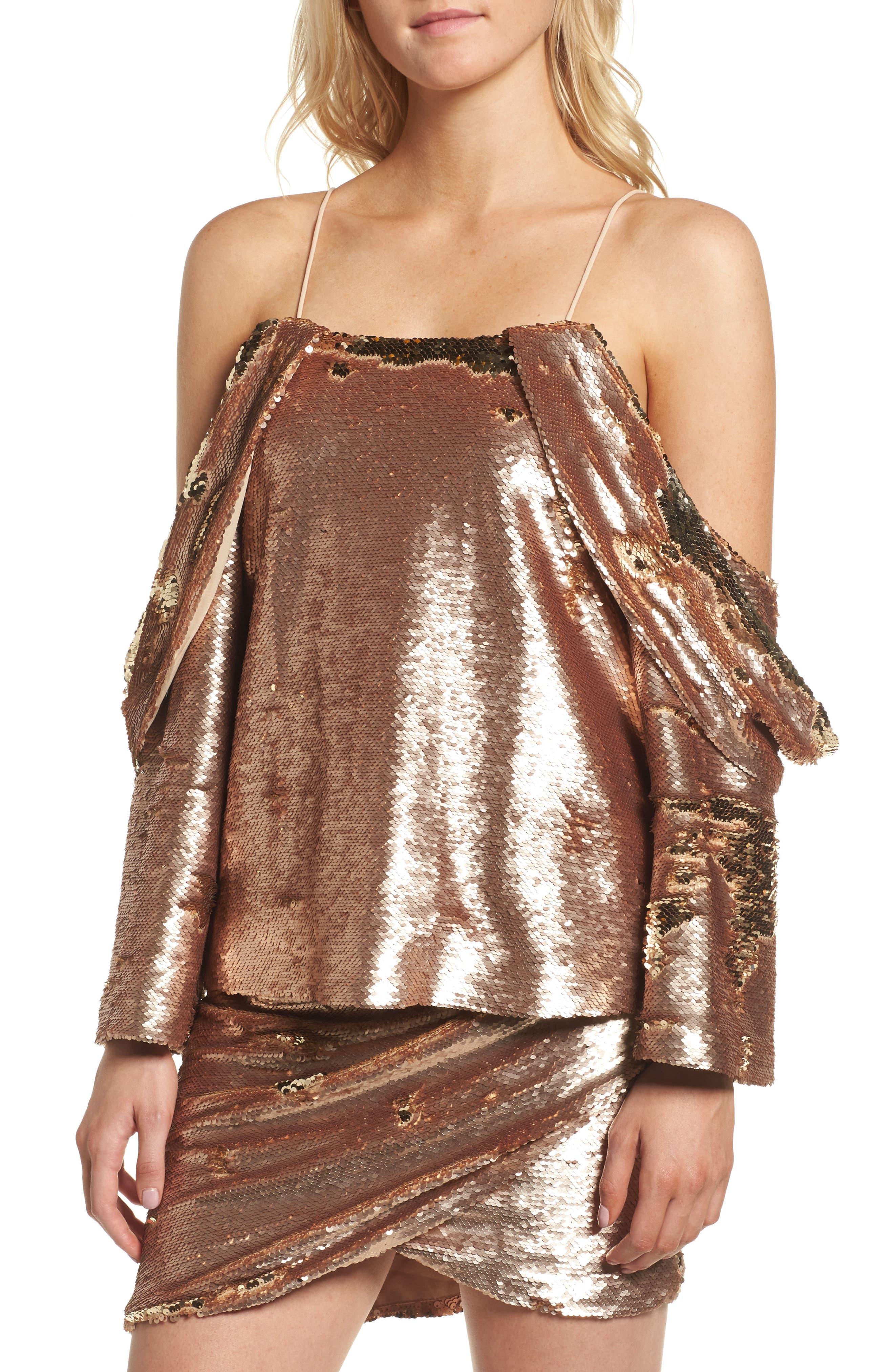 Revolution Off the Shoulder Sequin Top,                         Main,                         color, Champagne Blush