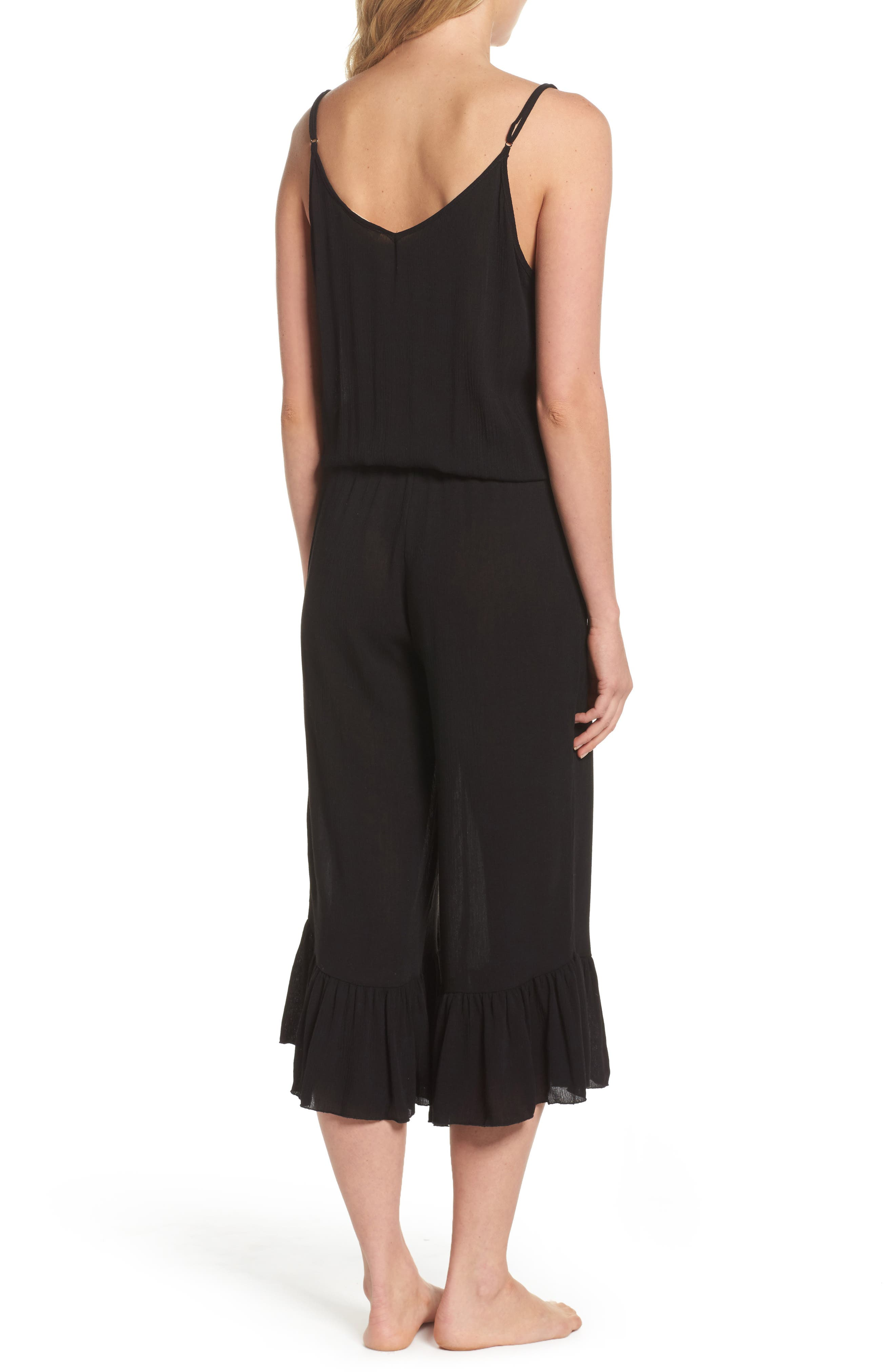 Culotte Cover-Up Jumpsuit,                             Alternate thumbnail 2, color,                             Black
