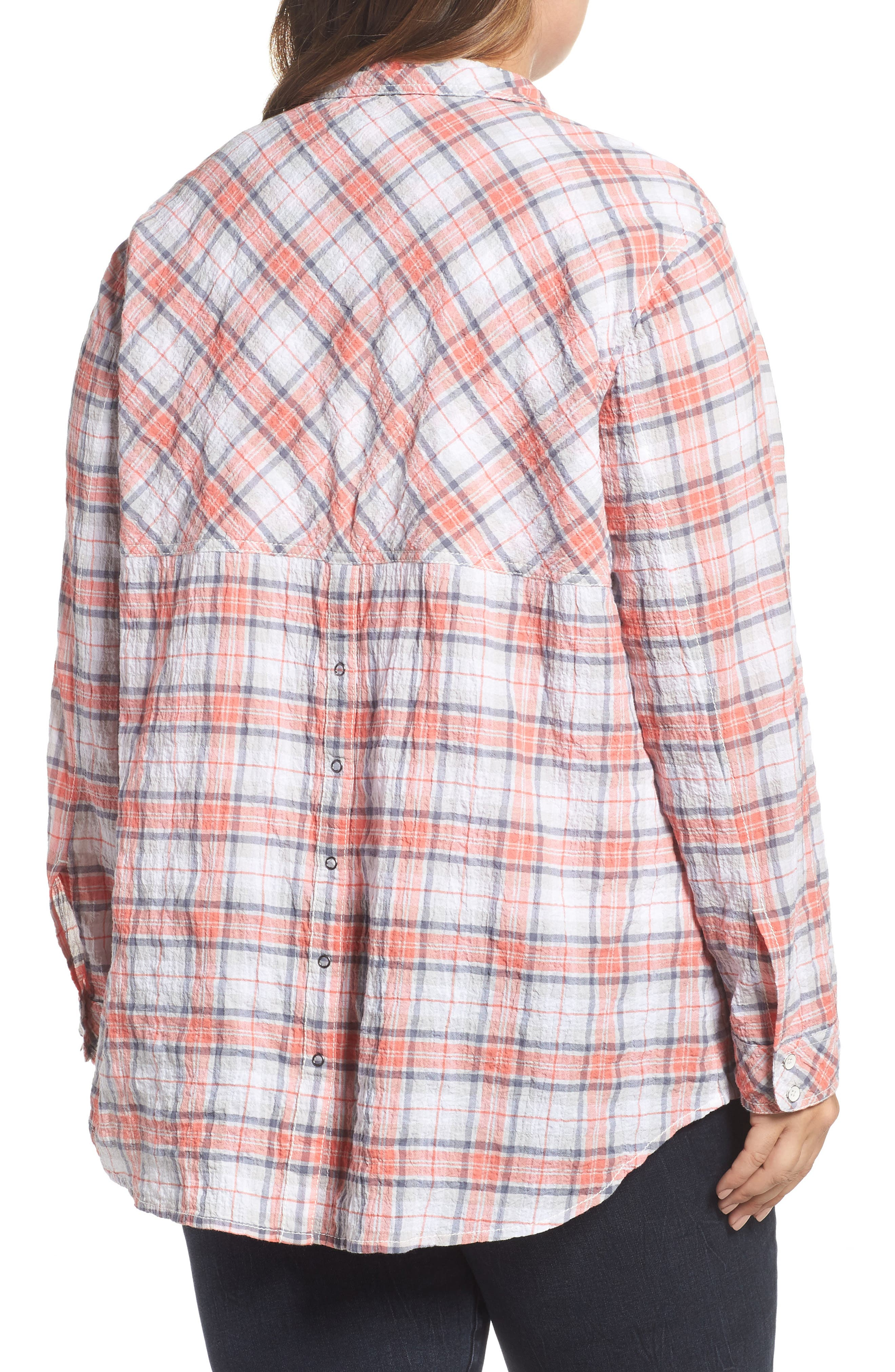 Seersucker Shirt,                             Alternate thumbnail 2, color,                             White- Coral Plaid