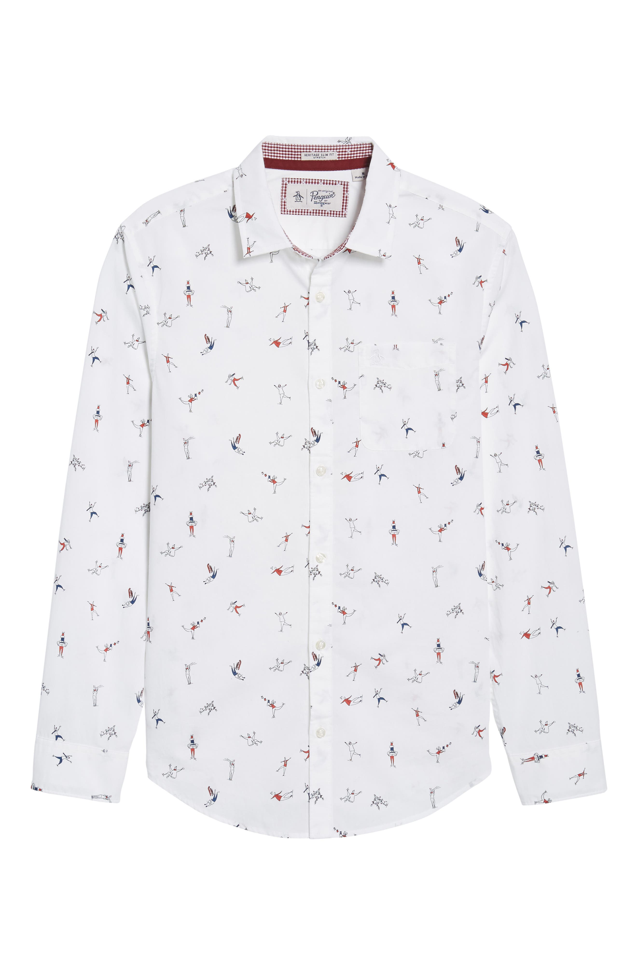 Clumsy Skaters Poplin Shirt,                             Alternate thumbnail 6, color,                             Bright White