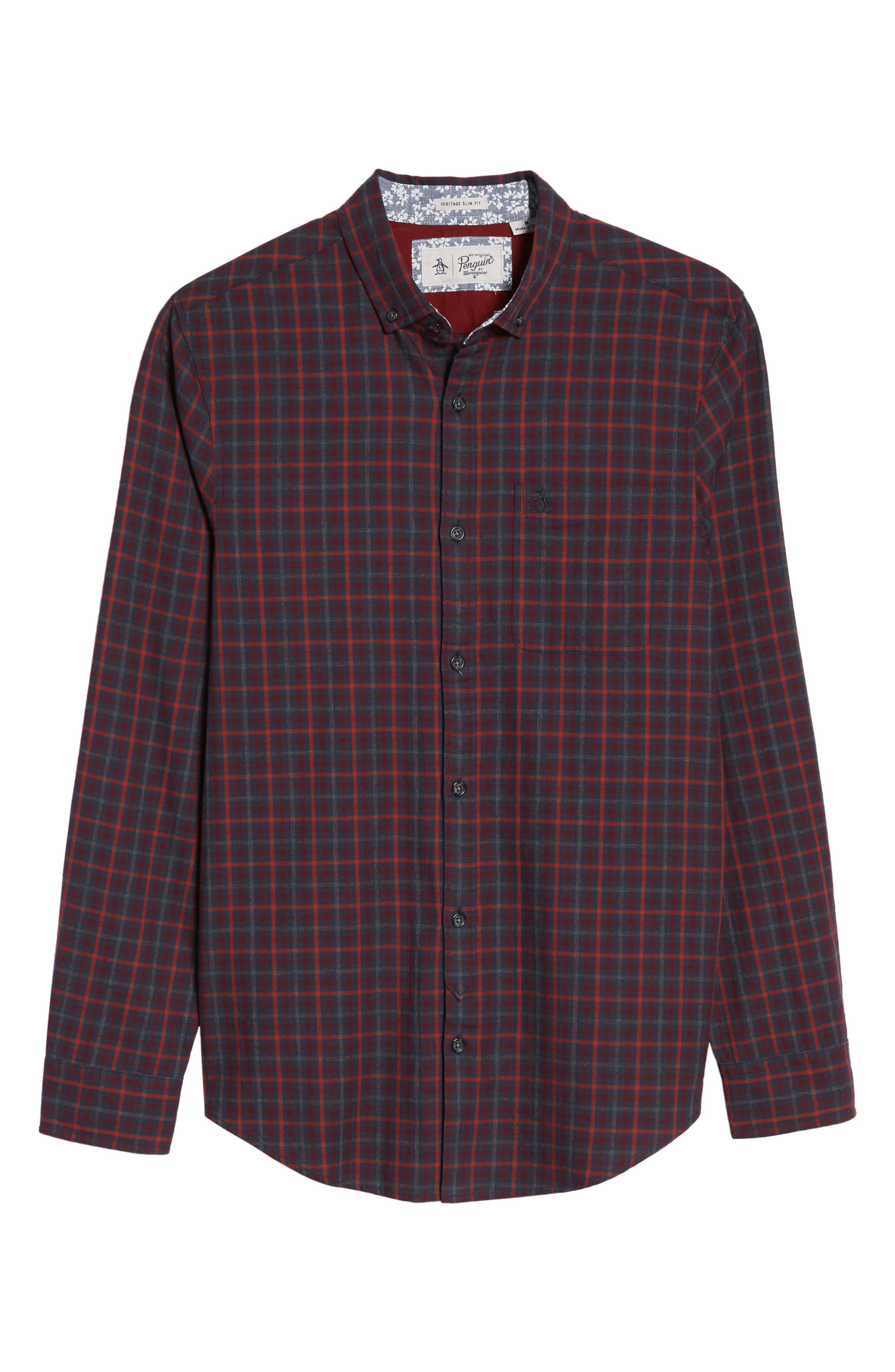Brushed Flannel Gingham Shirt,                             Alternate thumbnail 6, color,                             Dark Sapphire