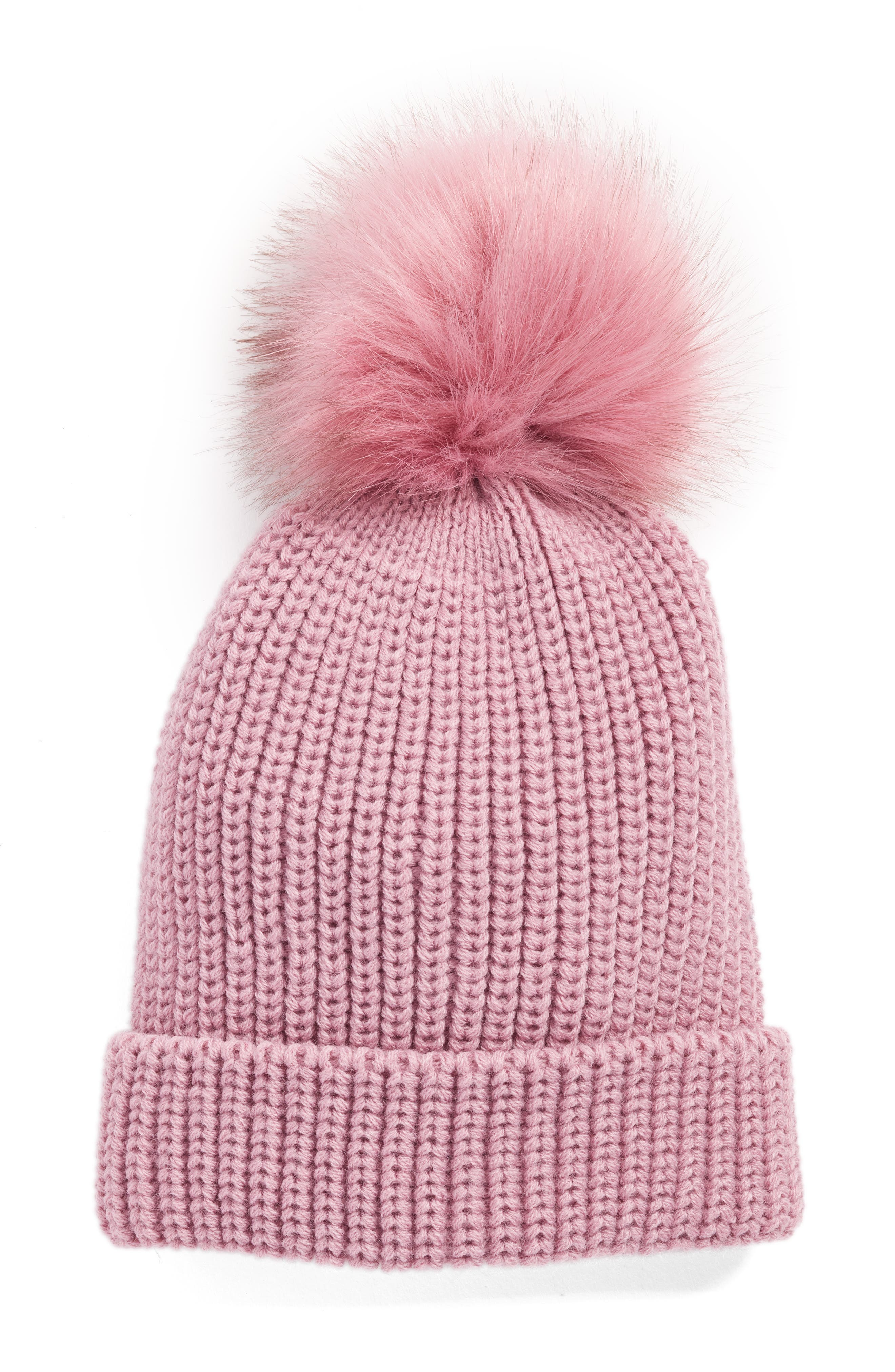 Alternate Image 1 Selected - Treasure & Bond Chunky Stitch Beanie with Faux Fur Pom