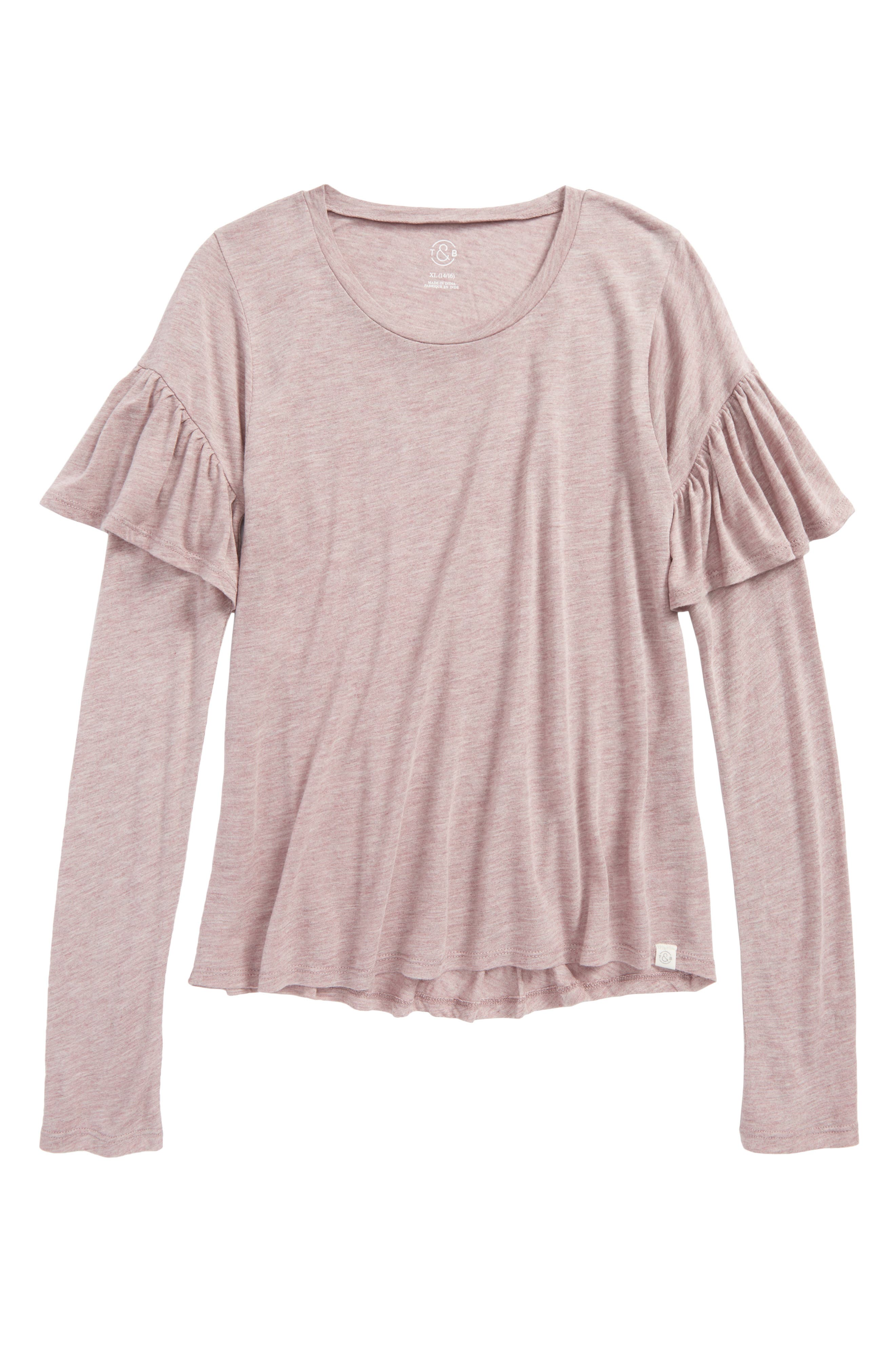 Treasure & Bond Ruffle Sleeve Tee (Big Girls)