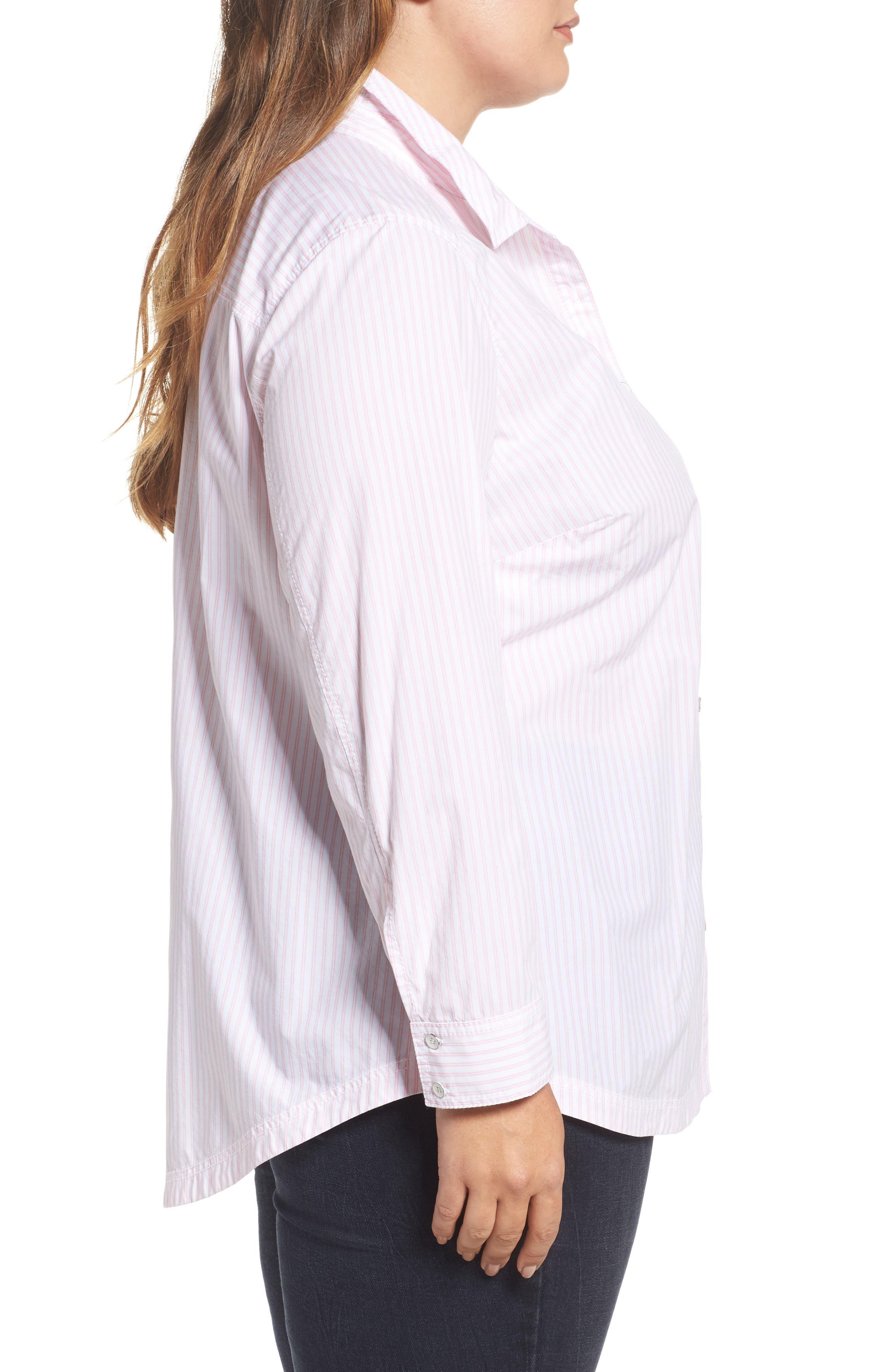 Alternate Image 3  - Caslon® Stripe Button Front Shirt (Plus Size)