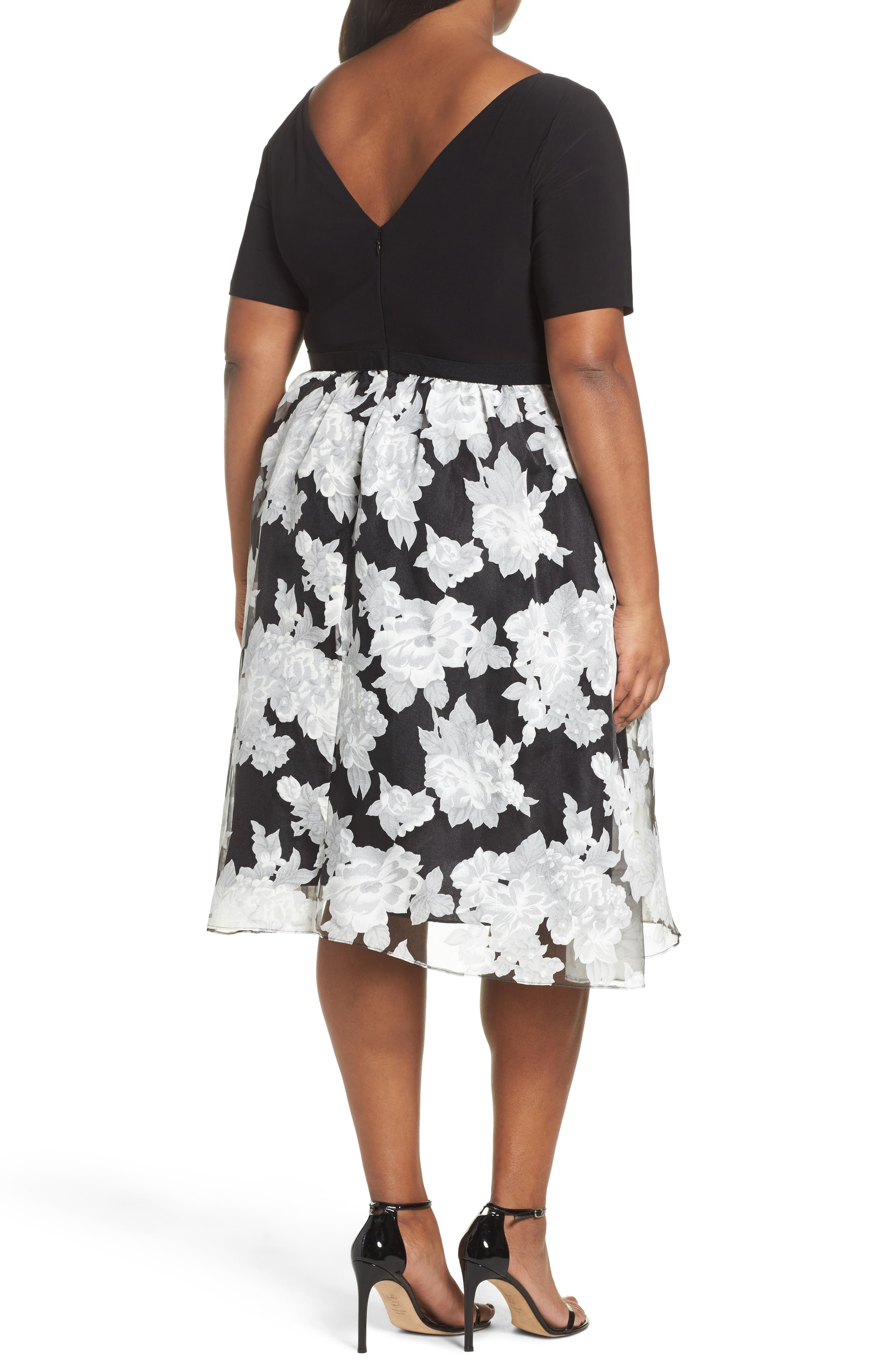 Print Organza Fit & Flare Dress,                             Alternate thumbnail 2, color,                             Black/ Ivory
