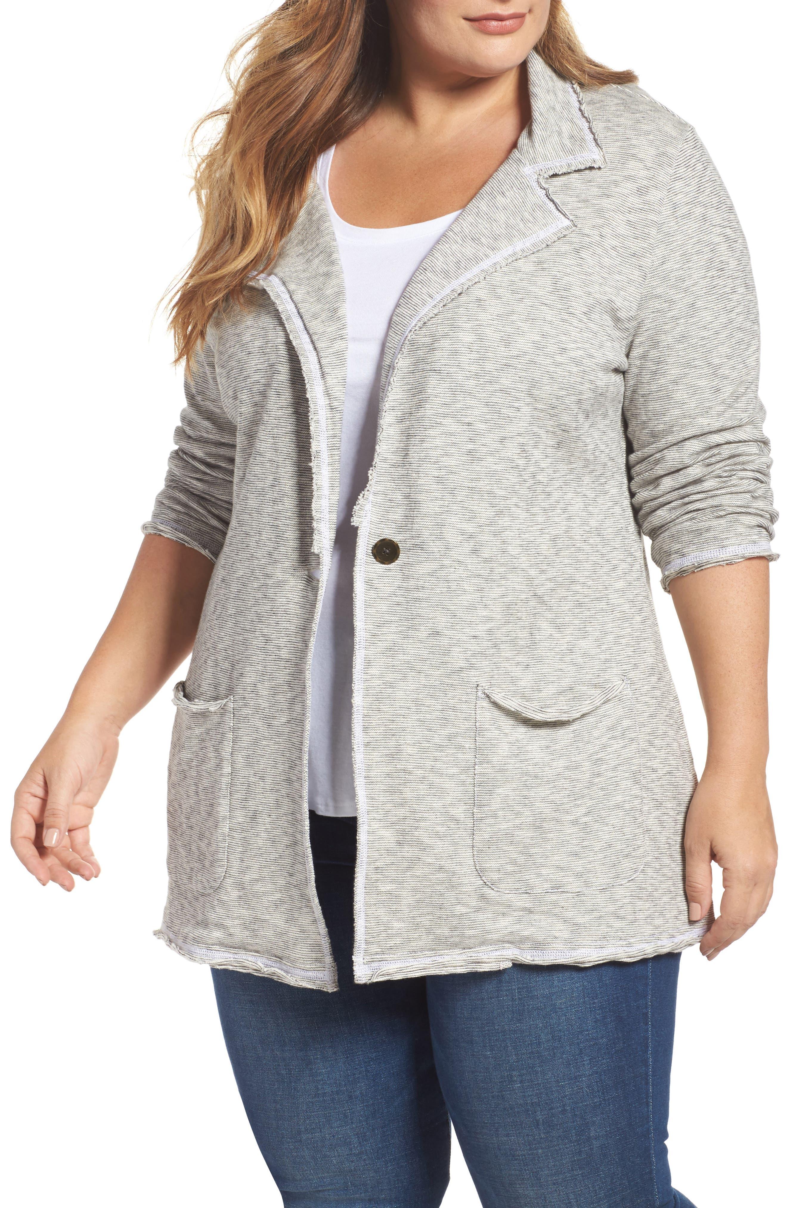Caslon® Knit Boyfriend Blazer (Plus Size)