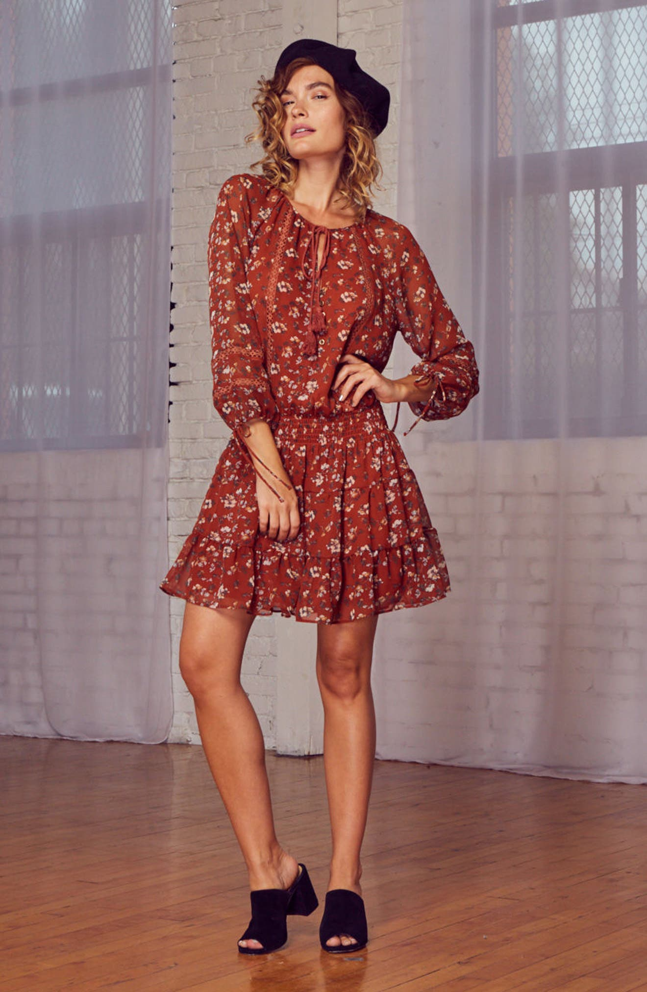 Le Marais Floral Print Dress,                             Alternate thumbnail 7, color,                             Rust