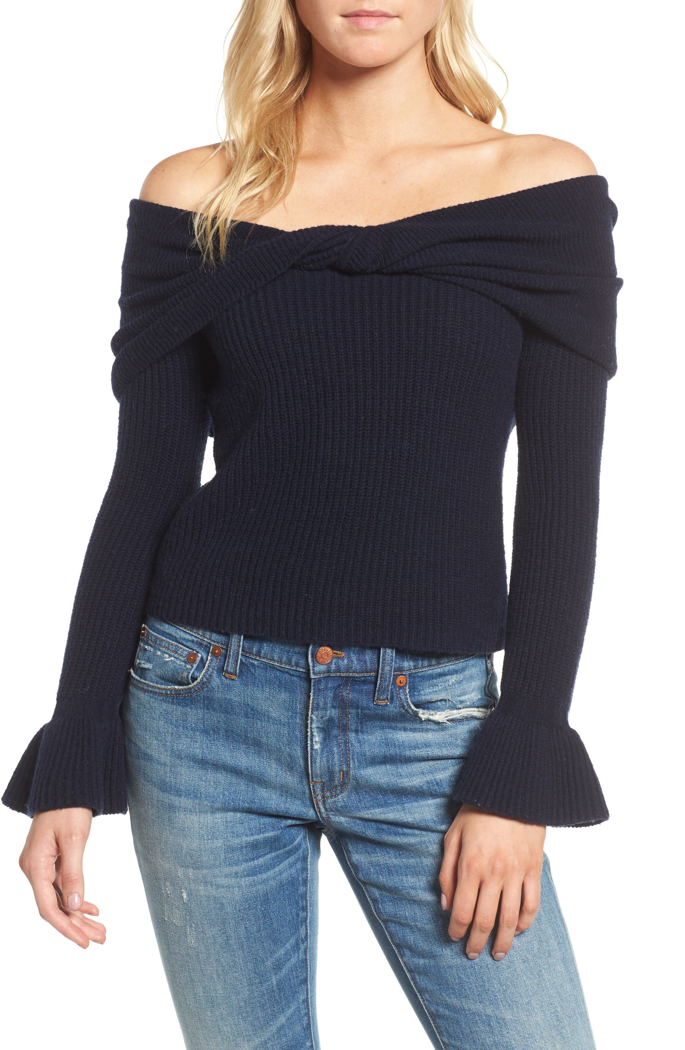 Off the Shoulder Sweater,                         Main,                         color, Navy