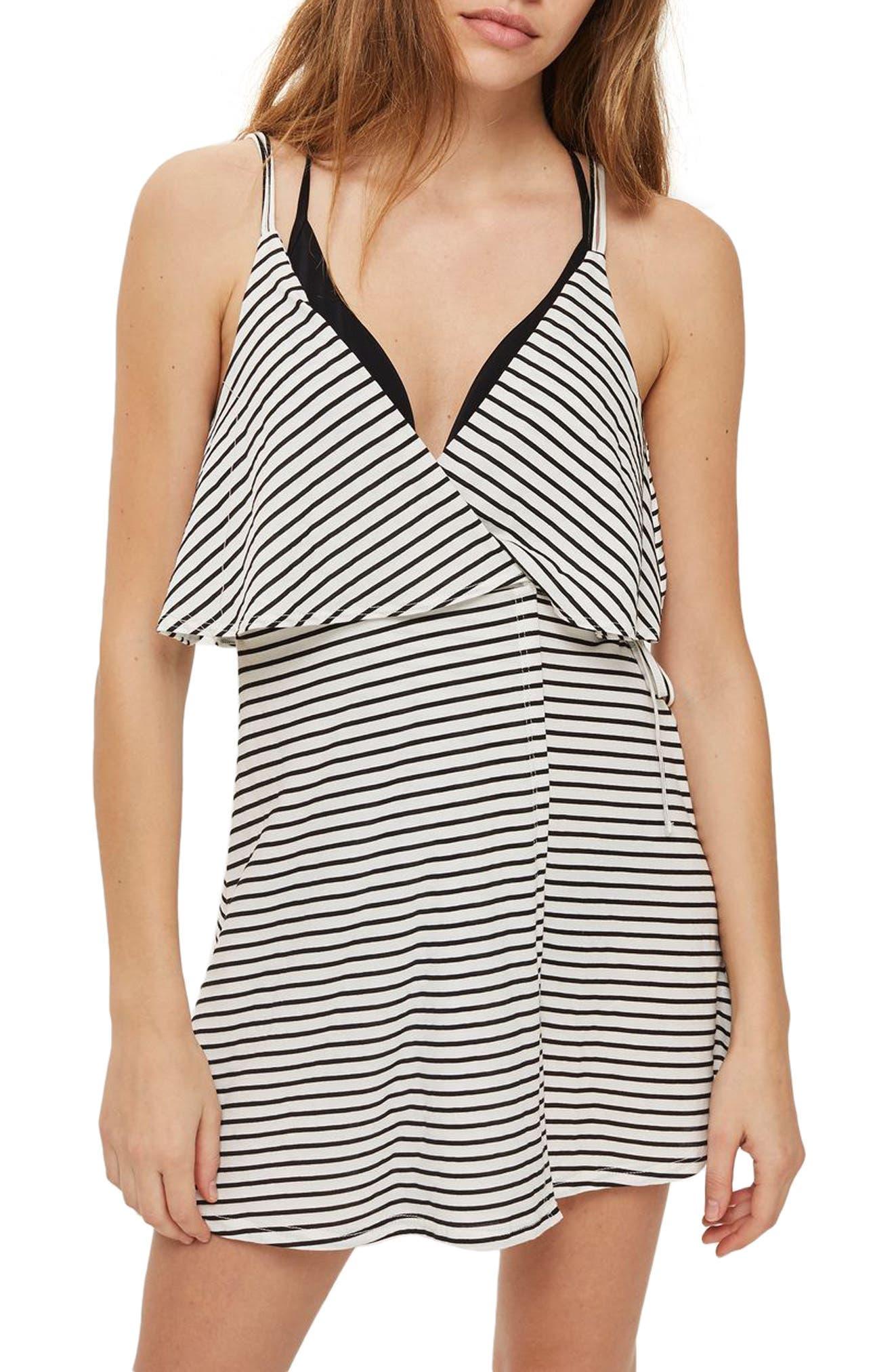 Stripe Wrap Sundress,                             Main thumbnail 1, color,                             White Multi