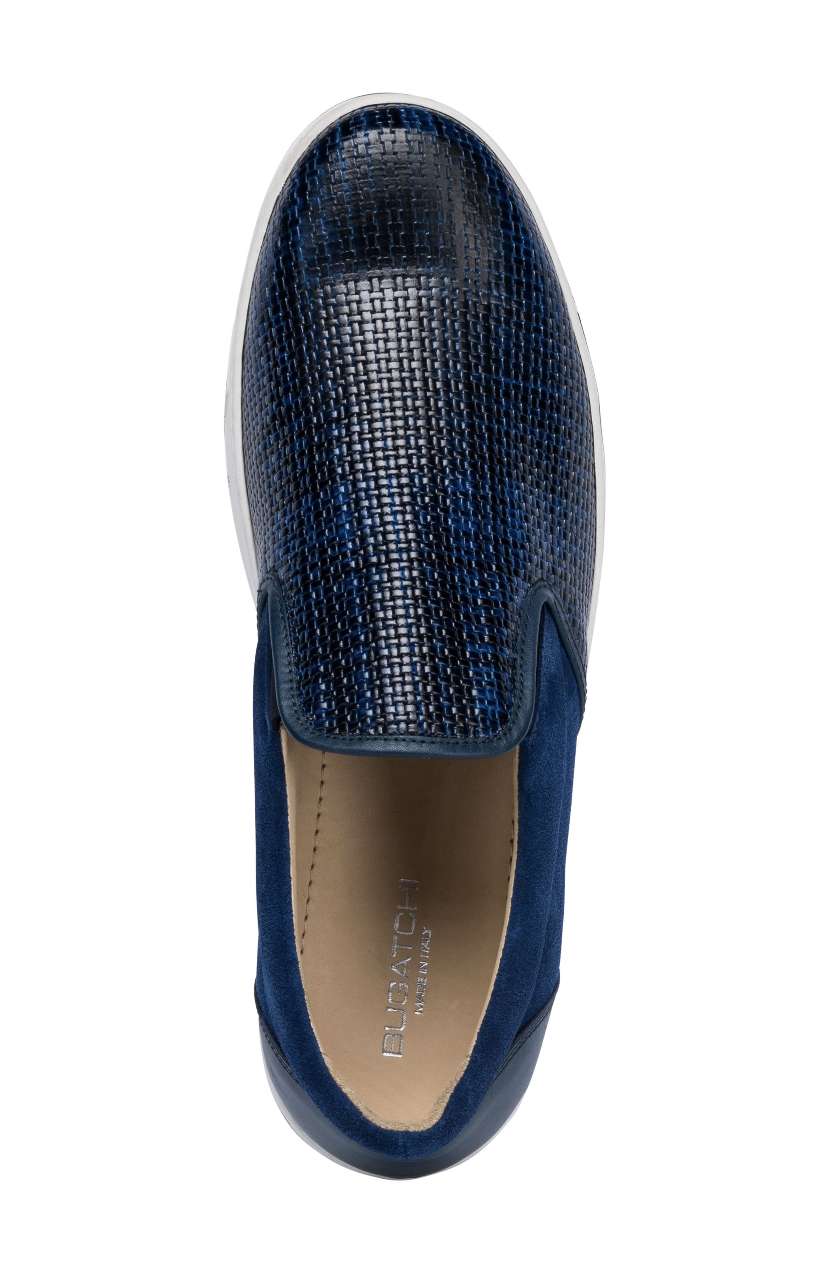 Cinque Terre Woven Slip-On Sneaker,                             Alternate thumbnail 5, color,                             Blue Leather/ Suede