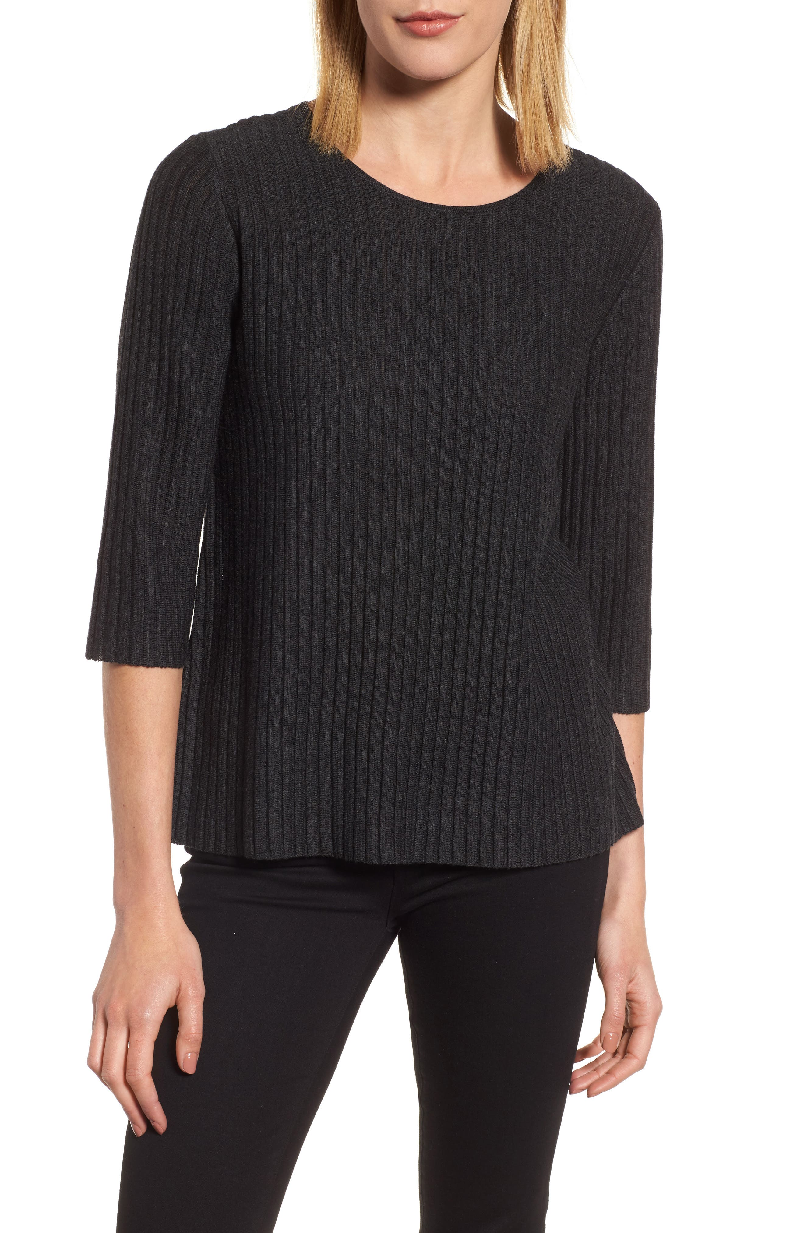 Eileen Fisher Ribbed Merino Wool Sweater