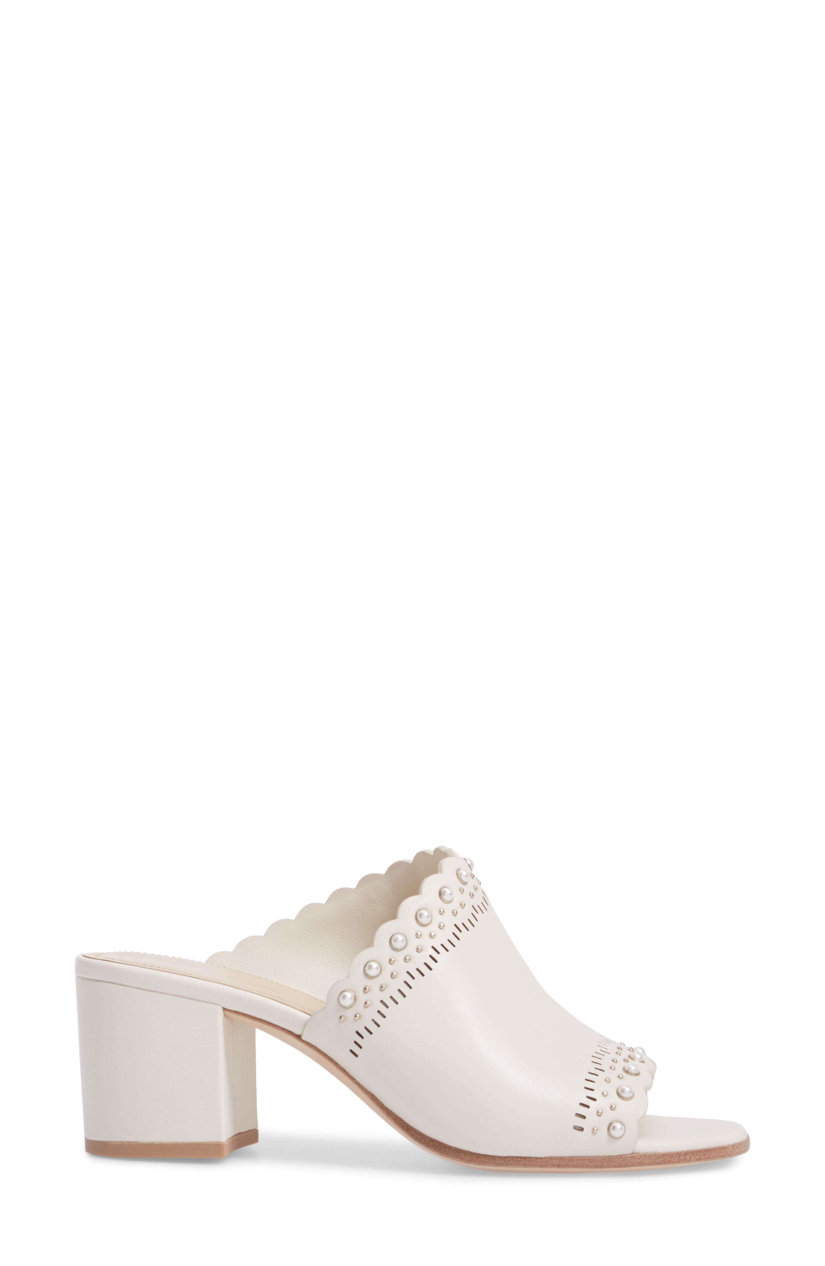 Amela Embellished Slide Sandal,                             Alternate thumbnail 3, color,                             Bone Leather