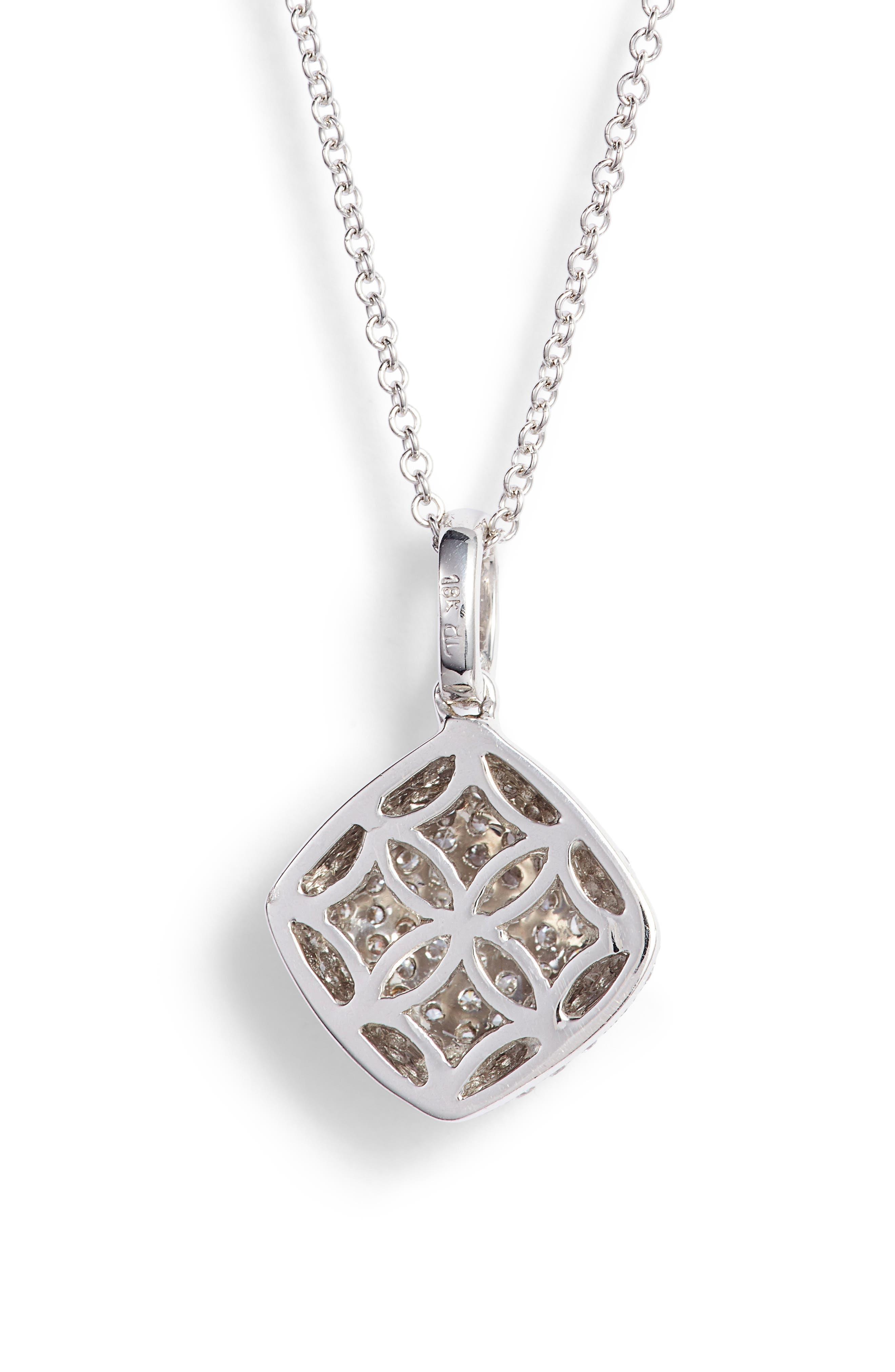 Pavé Diamond Pendant Necklace,                             Alternate thumbnail 4, color,                             White Gold