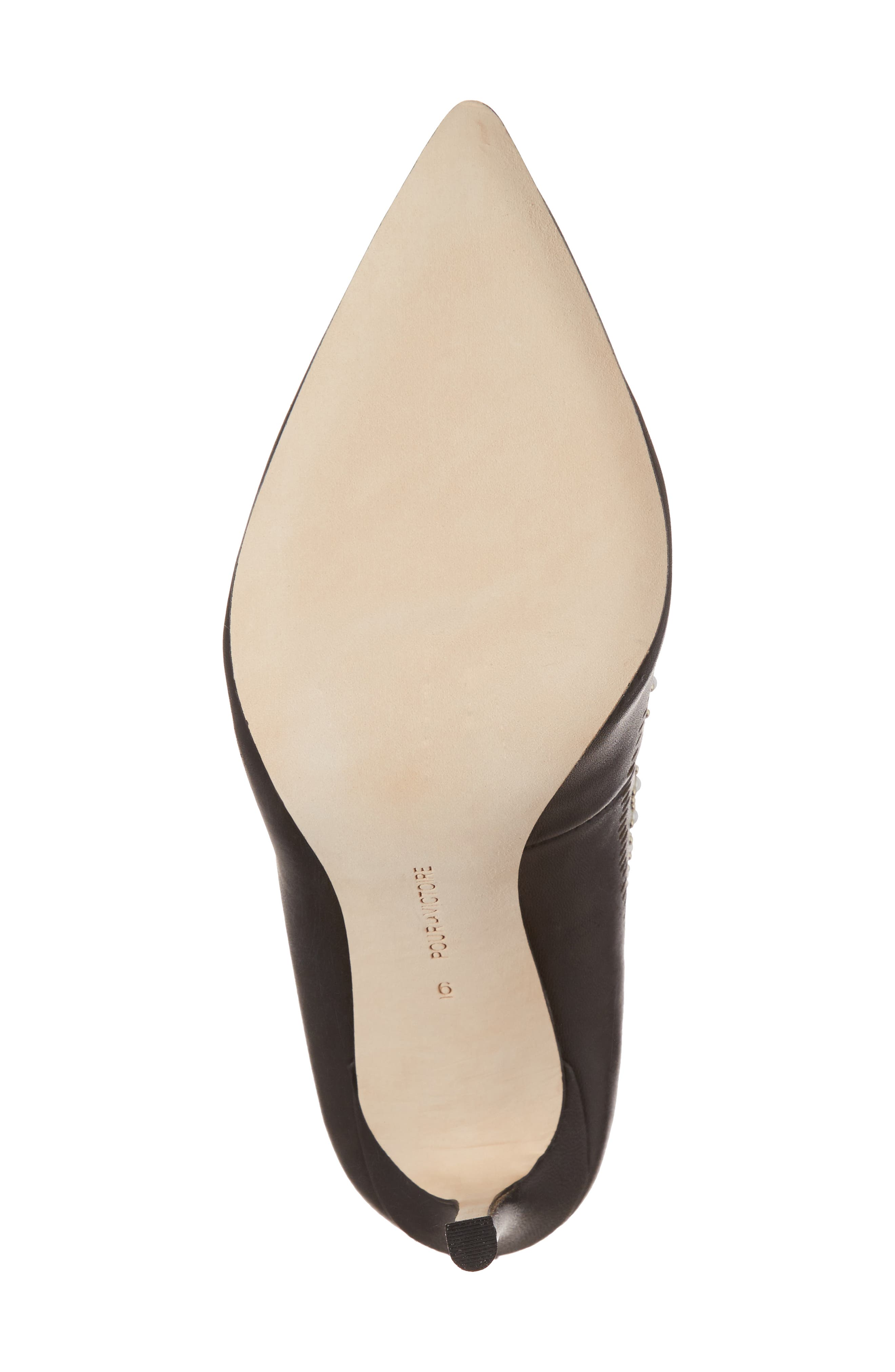 Cerella Embellished Pump,                             Alternate thumbnail 6, color,                             Black Leather