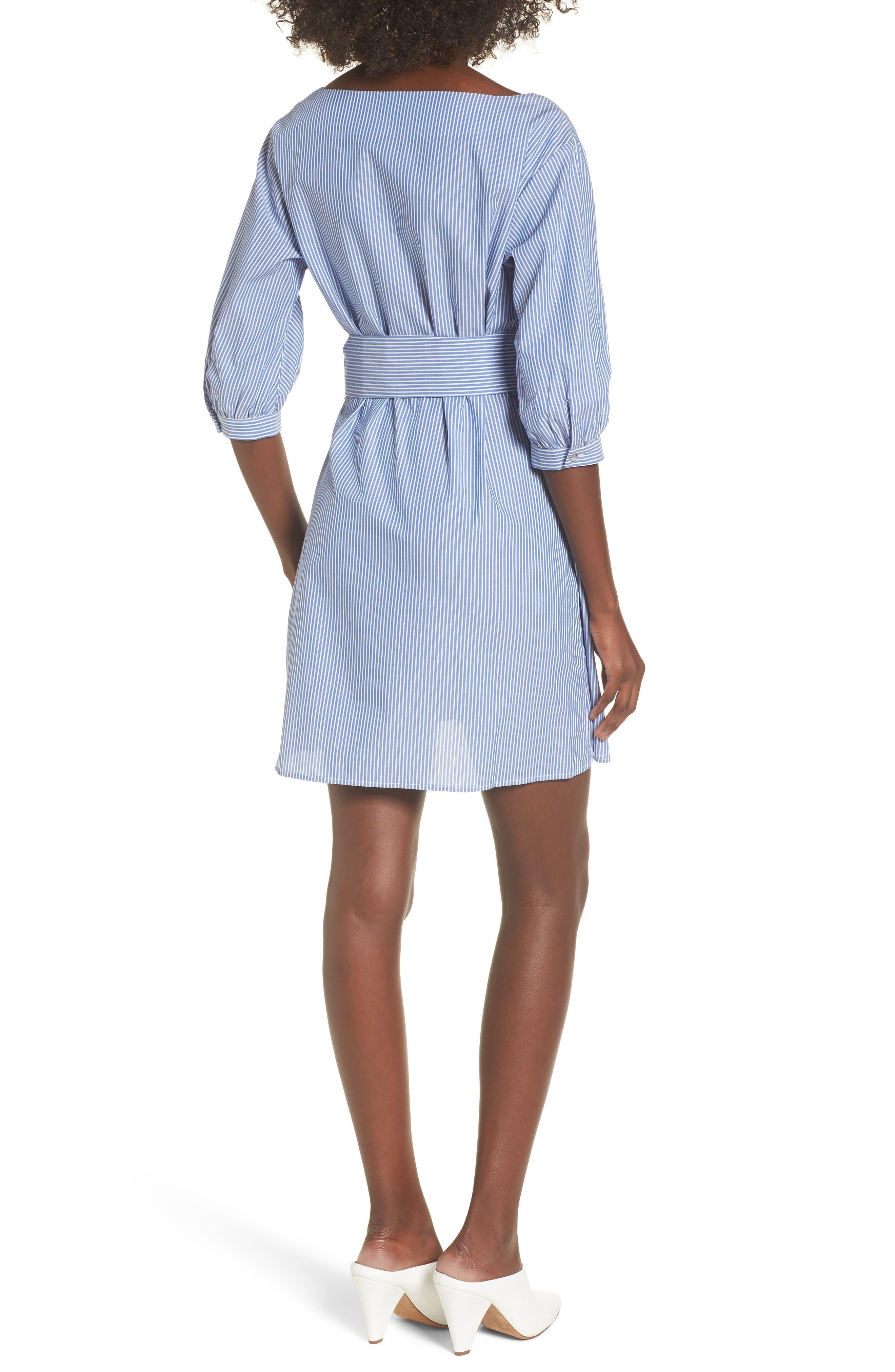 Cotton Poplin Wrap Dress,                             Alternate thumbnail 2, color,                             Blue White Stripe