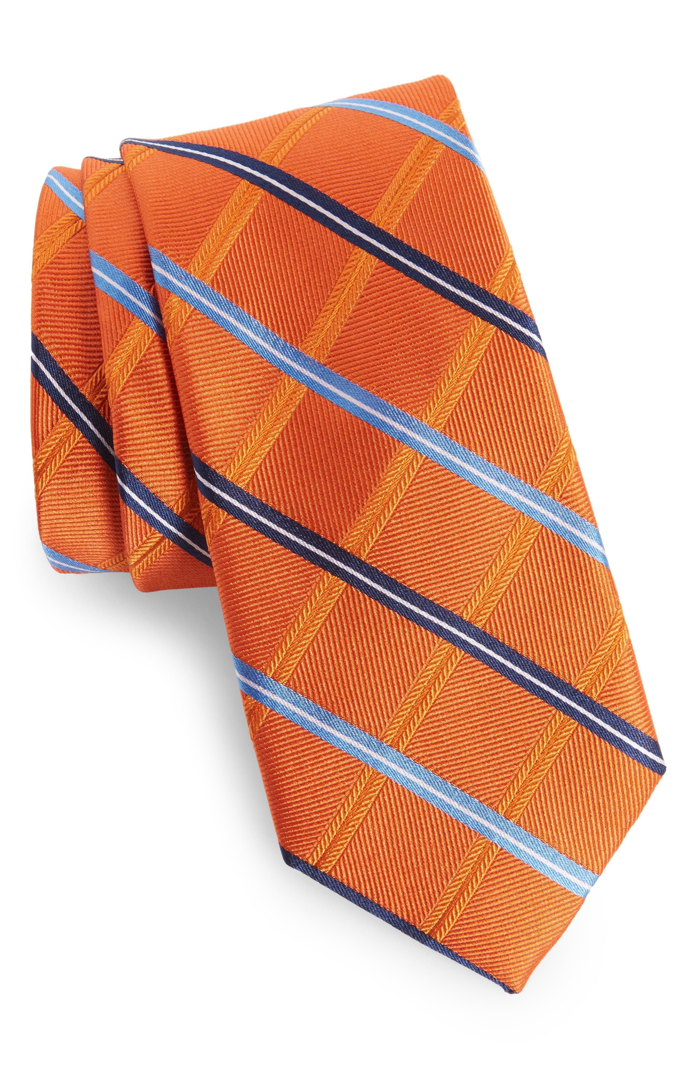 Grid Silk Tie,                             Main thumbnail 1, color,                             Orange