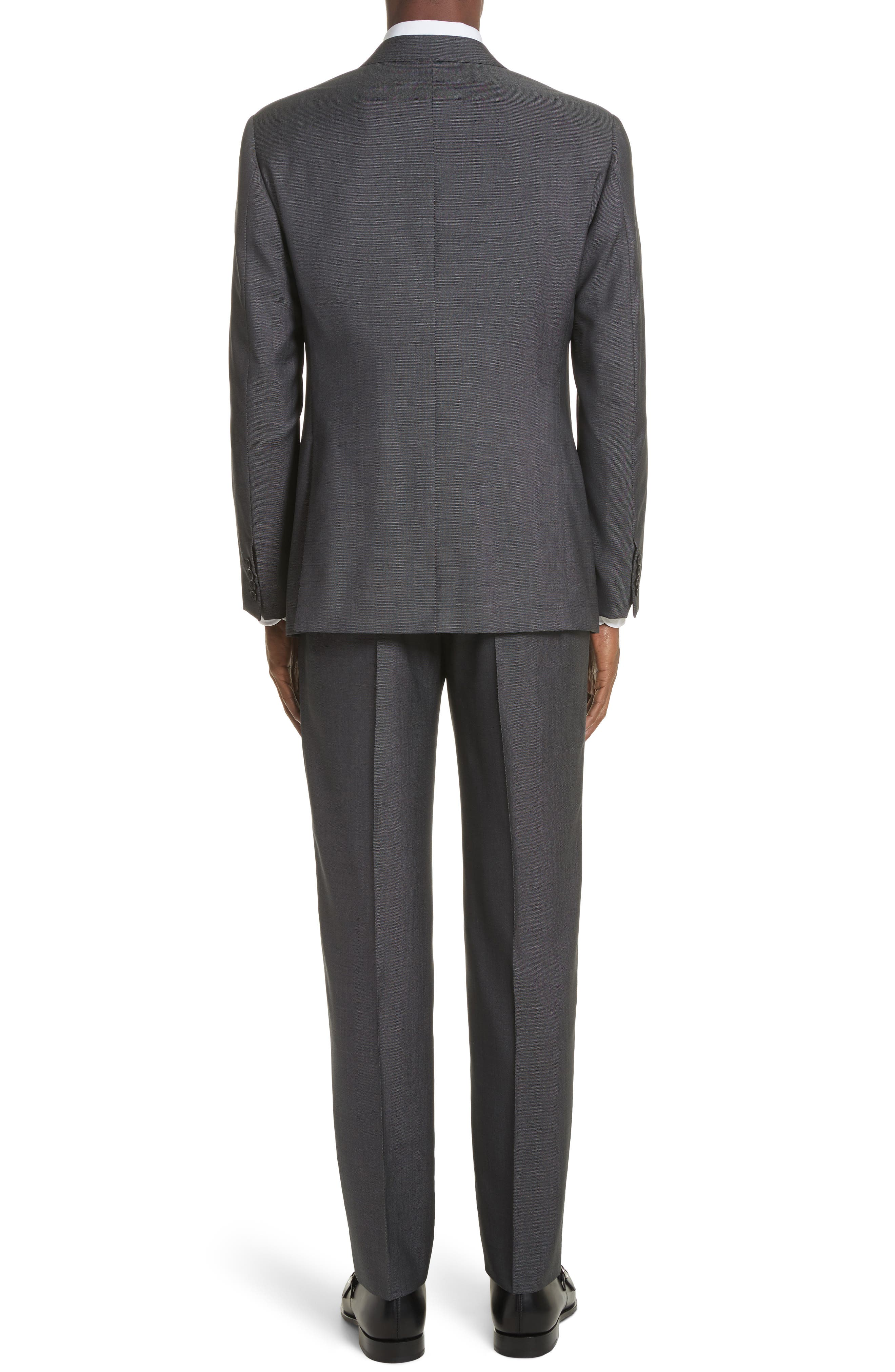 G Line Trim Fit Solid Wool & Silk Suit,                             Alternate thumbnail 2, color,                             Grey