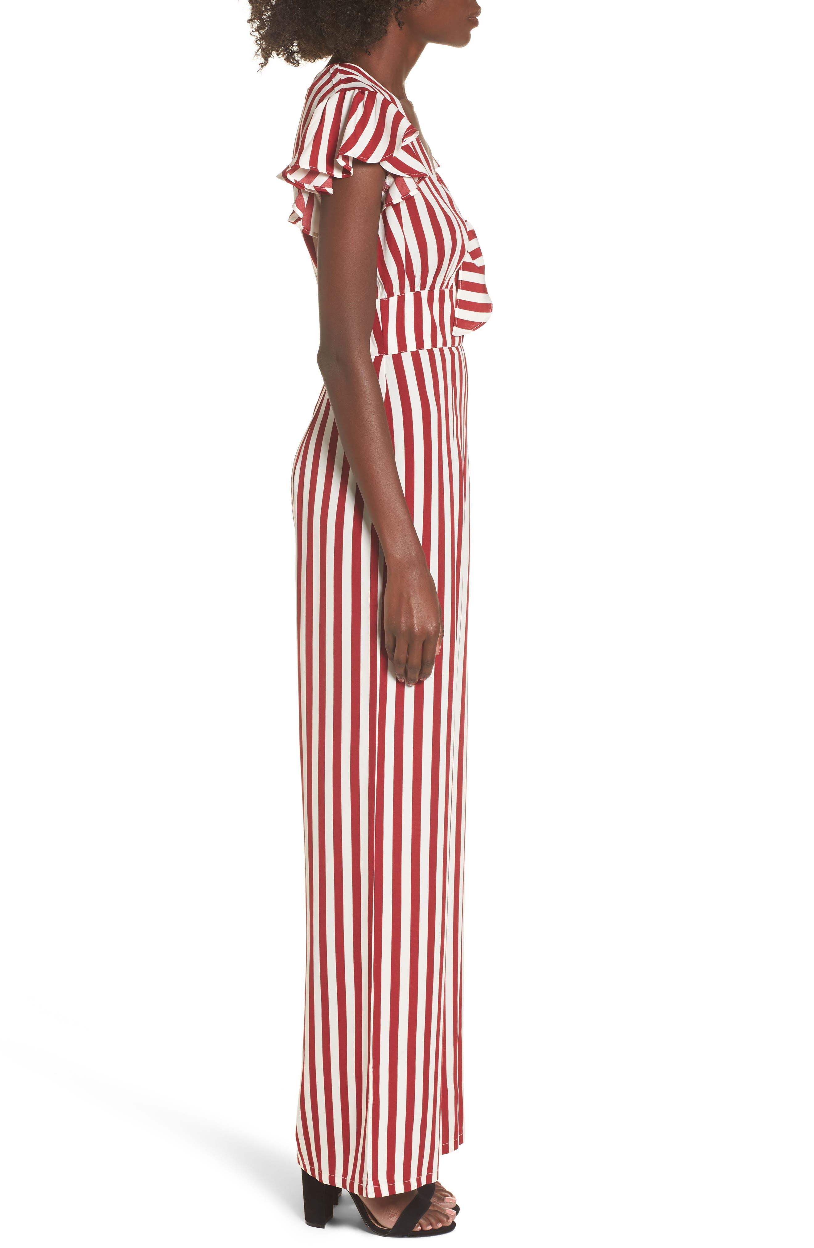 Tie Front Wide Leg Jumpsuit,                             Alternate thumbnail 3, color,                             Red White Stripe