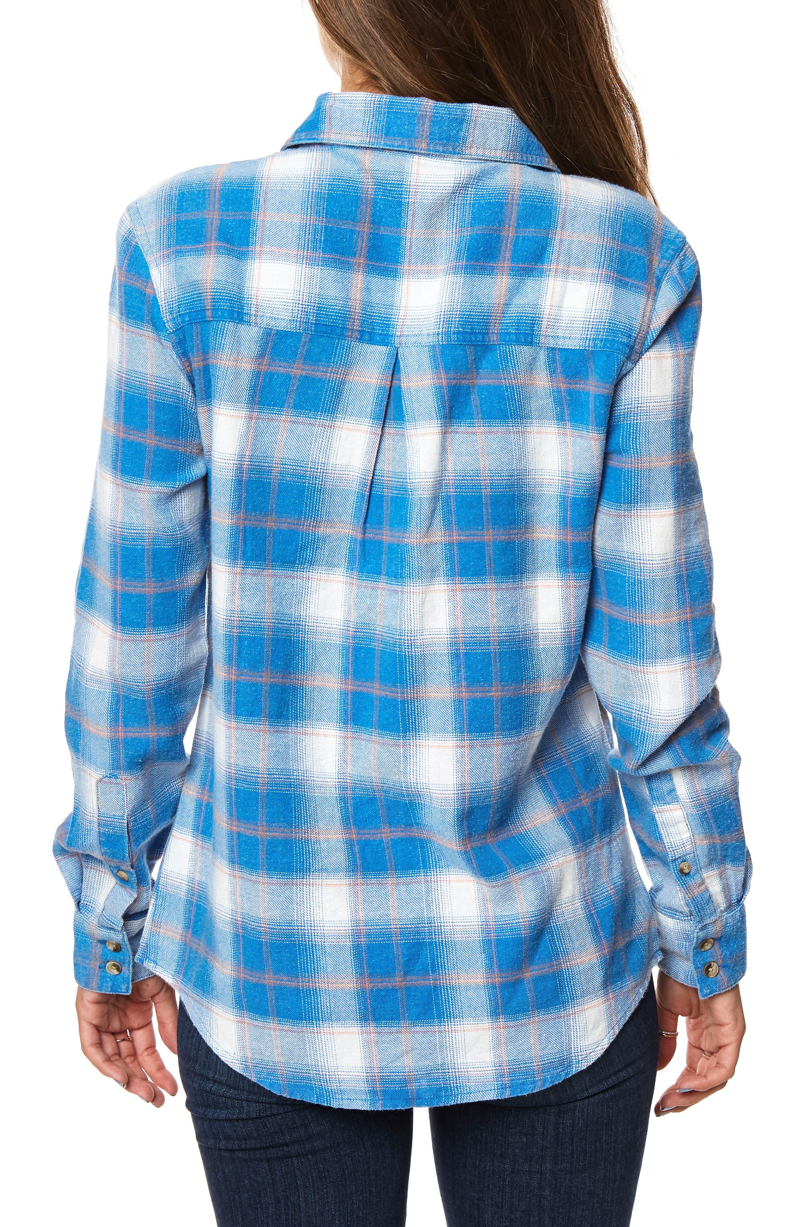 Birdie Plaid Flannel Shirt,                             Alternate thumbnail 2, color,                             True Blue