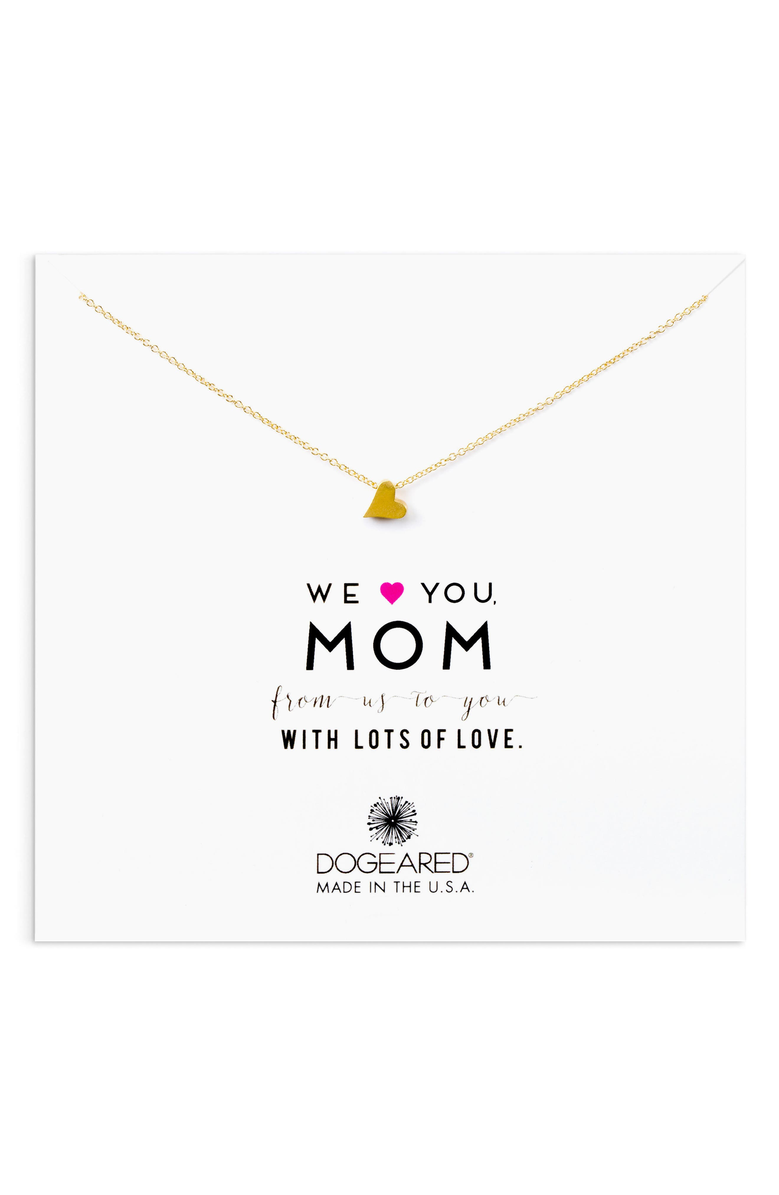 Dogeared We Heart You, Mom Charm Necklace