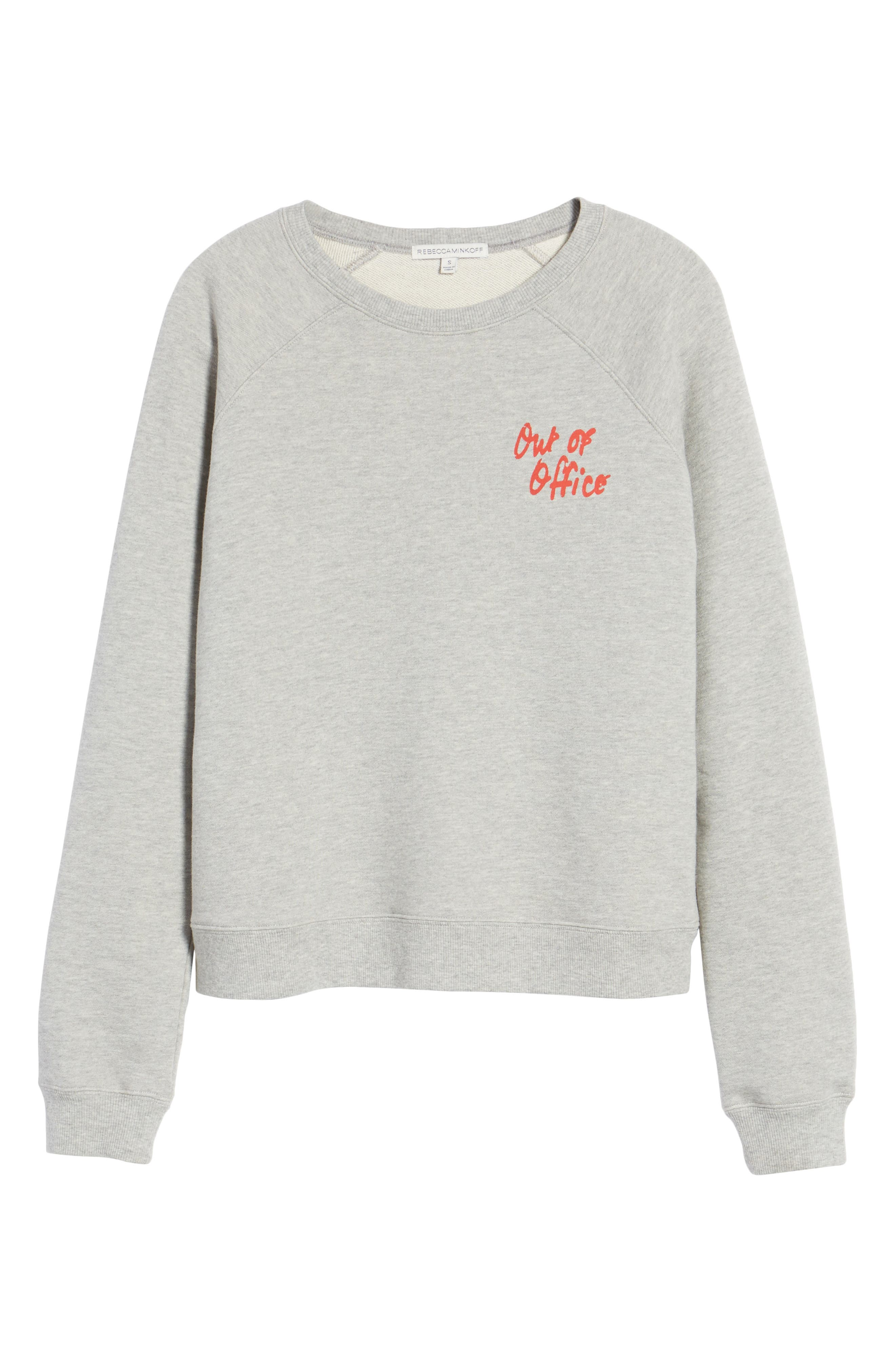 Out of Office Sweatshirt,                             Alternate thumbnail 6, color,                             Heather Grey/ Red