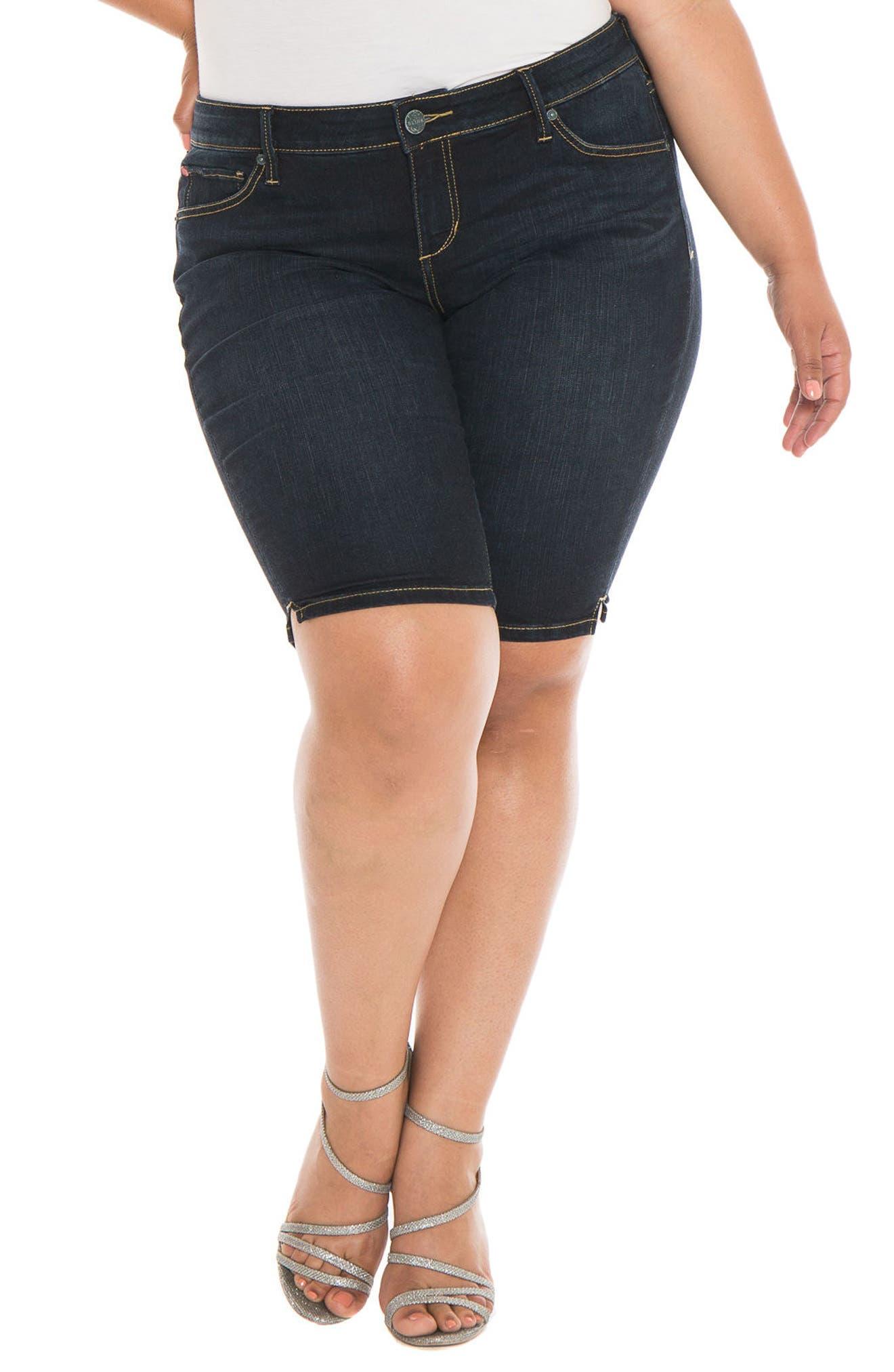 Main Image - SLINK Jeans Stretch Denim Bermuda Shorts (Summer) (Plus Size)