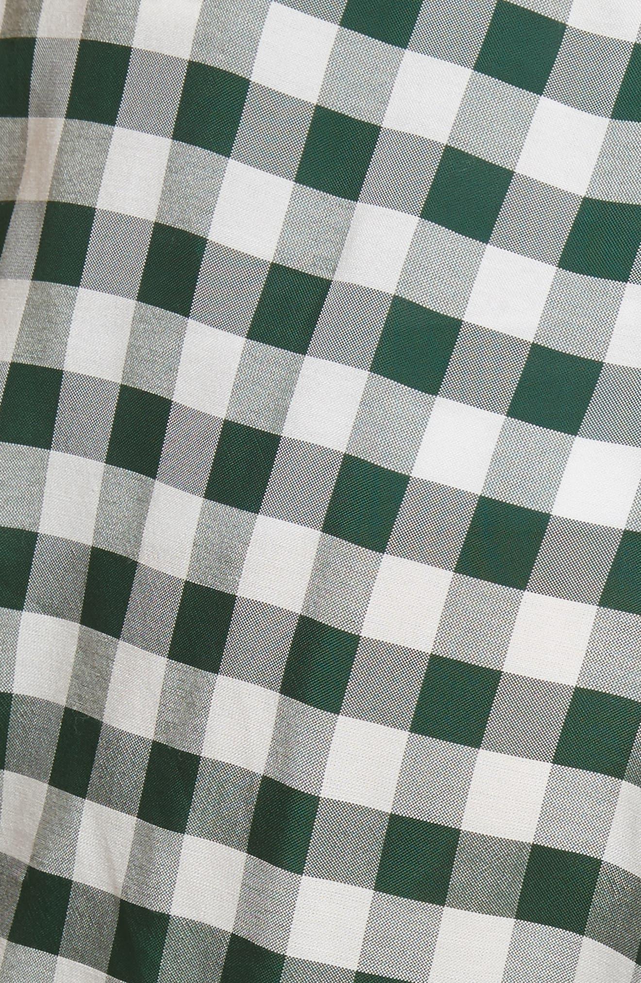 Roman Gingham Jacquard Skirt,                             Alternate thumbnail 5, color,                             Emerald