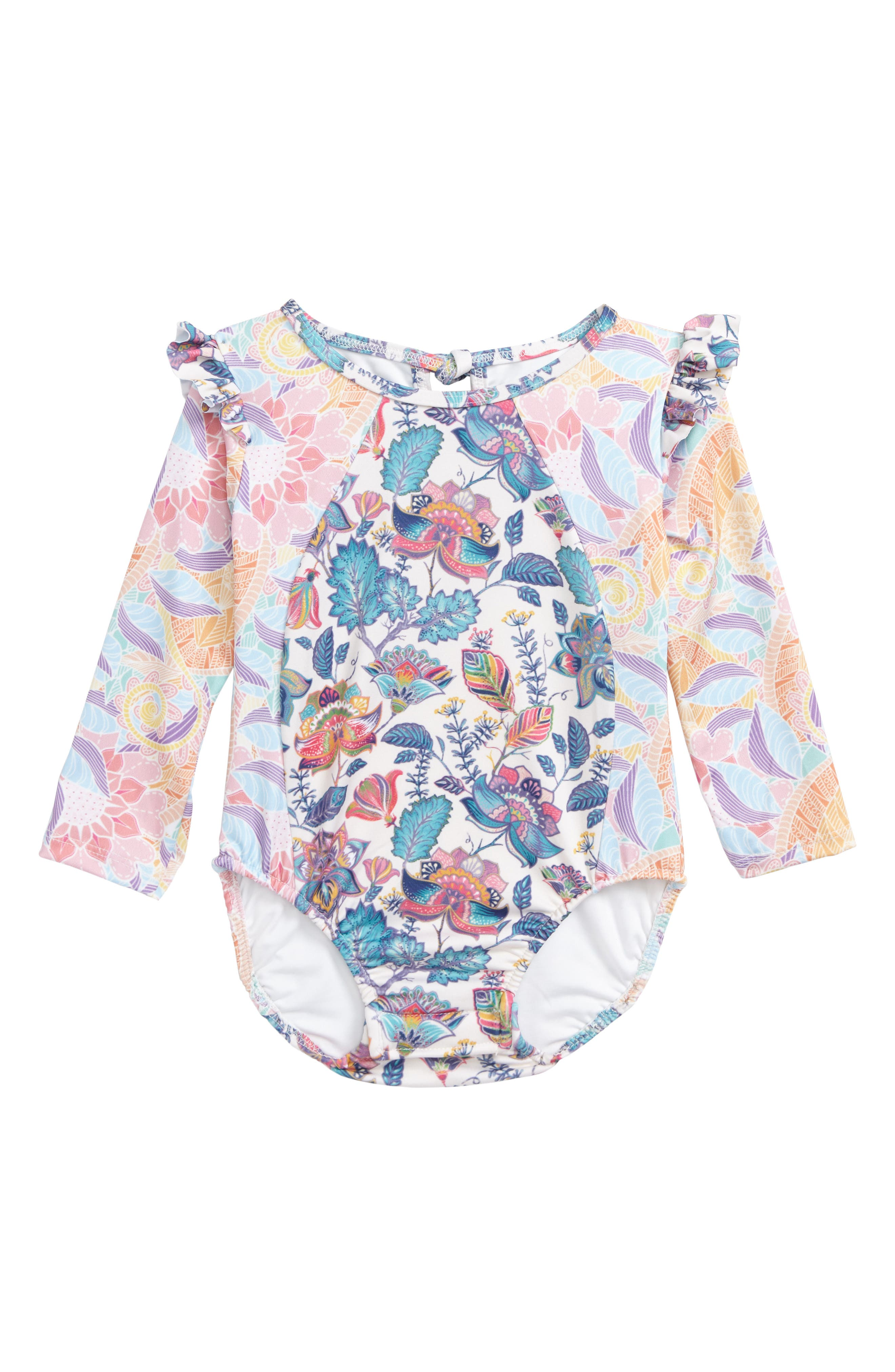 Main Image - The Salty Baby One-Piece Rashguard Swimsuit (Toddler Girls)