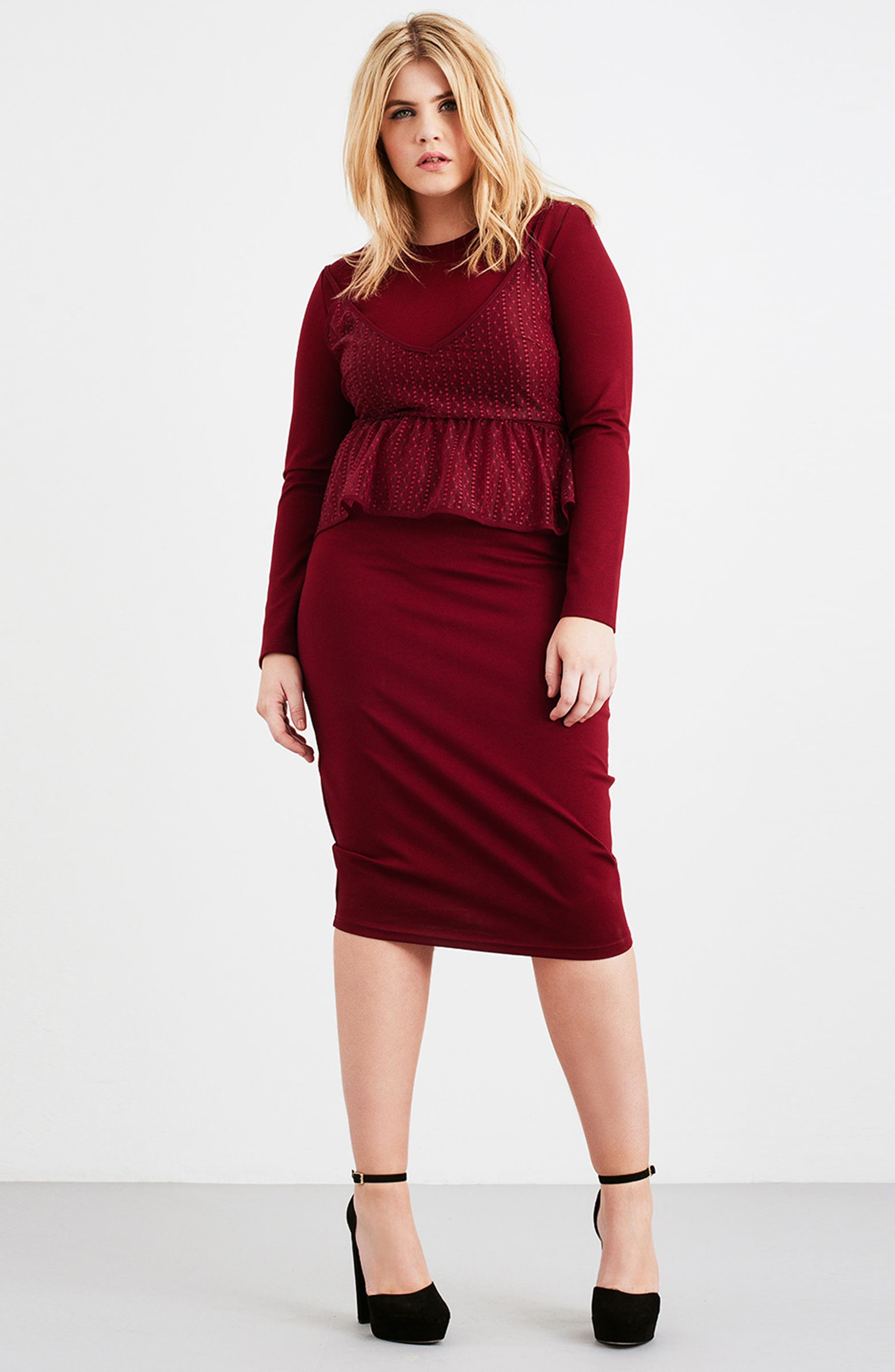 Peplum Overlay Body-Con Dress,                             Alternate thumbnail 2, color,                             Oxblood