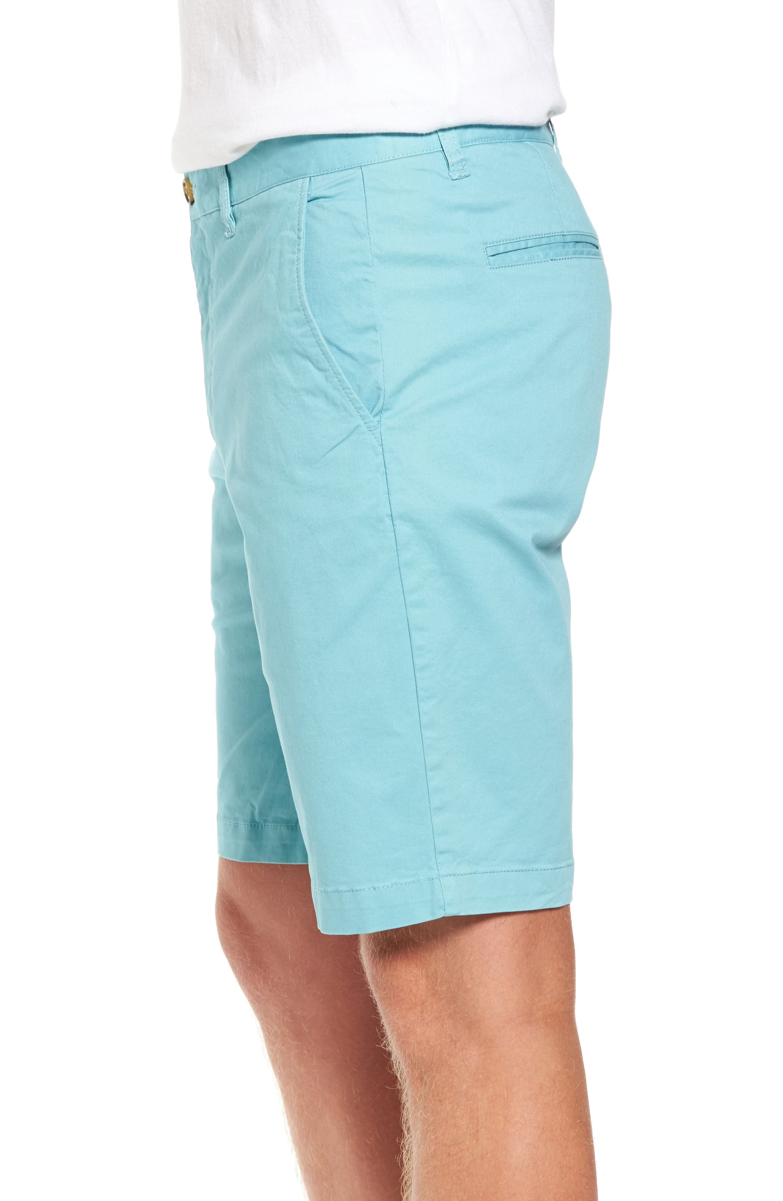 Slim Fit Brushed Twill Shorts,                             Alternate thumbnail 3, color,                             Dusty Blue