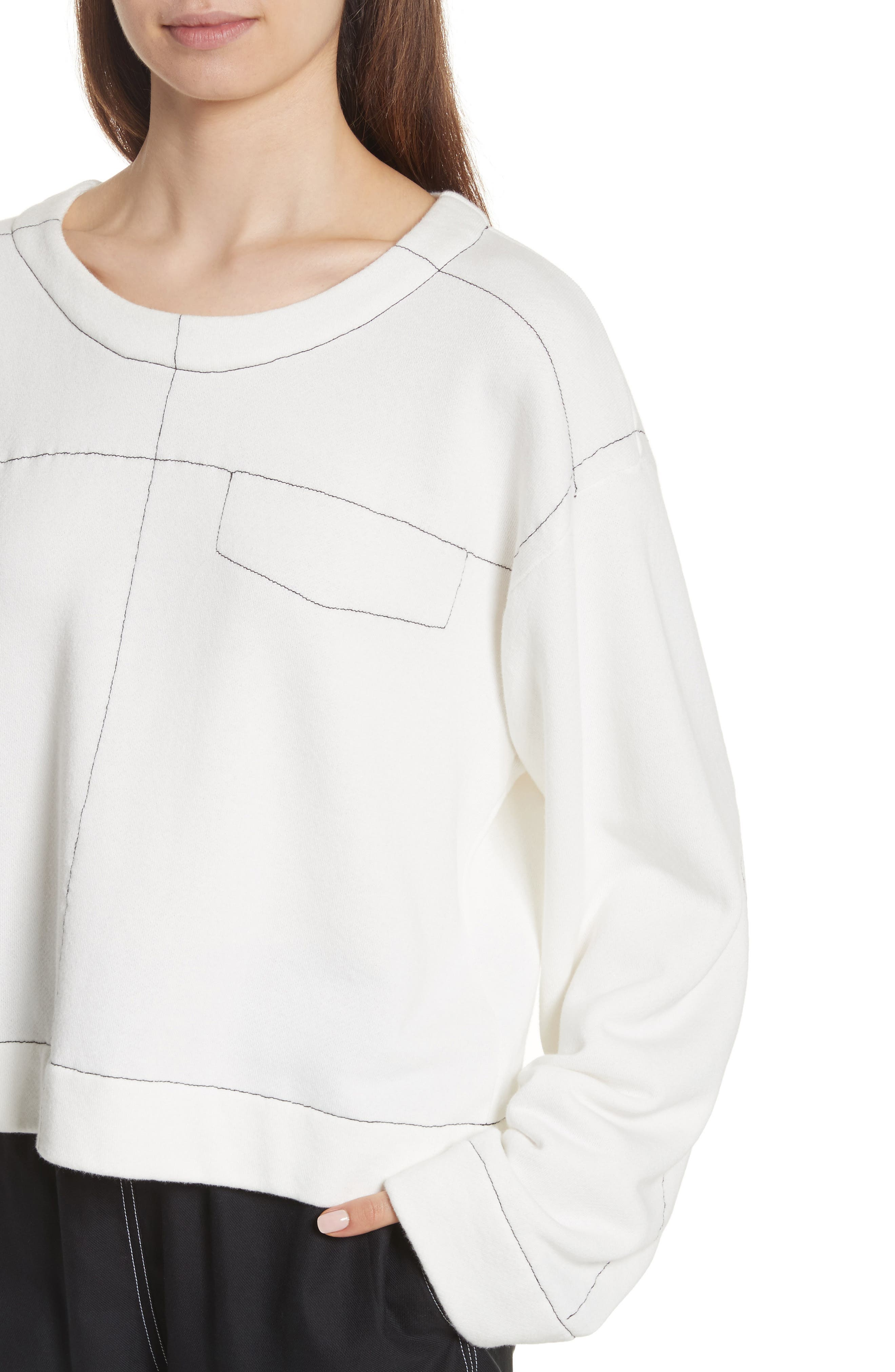 Topstitch Sweater,                             Alternate thumbnail 4, color,                             Off White