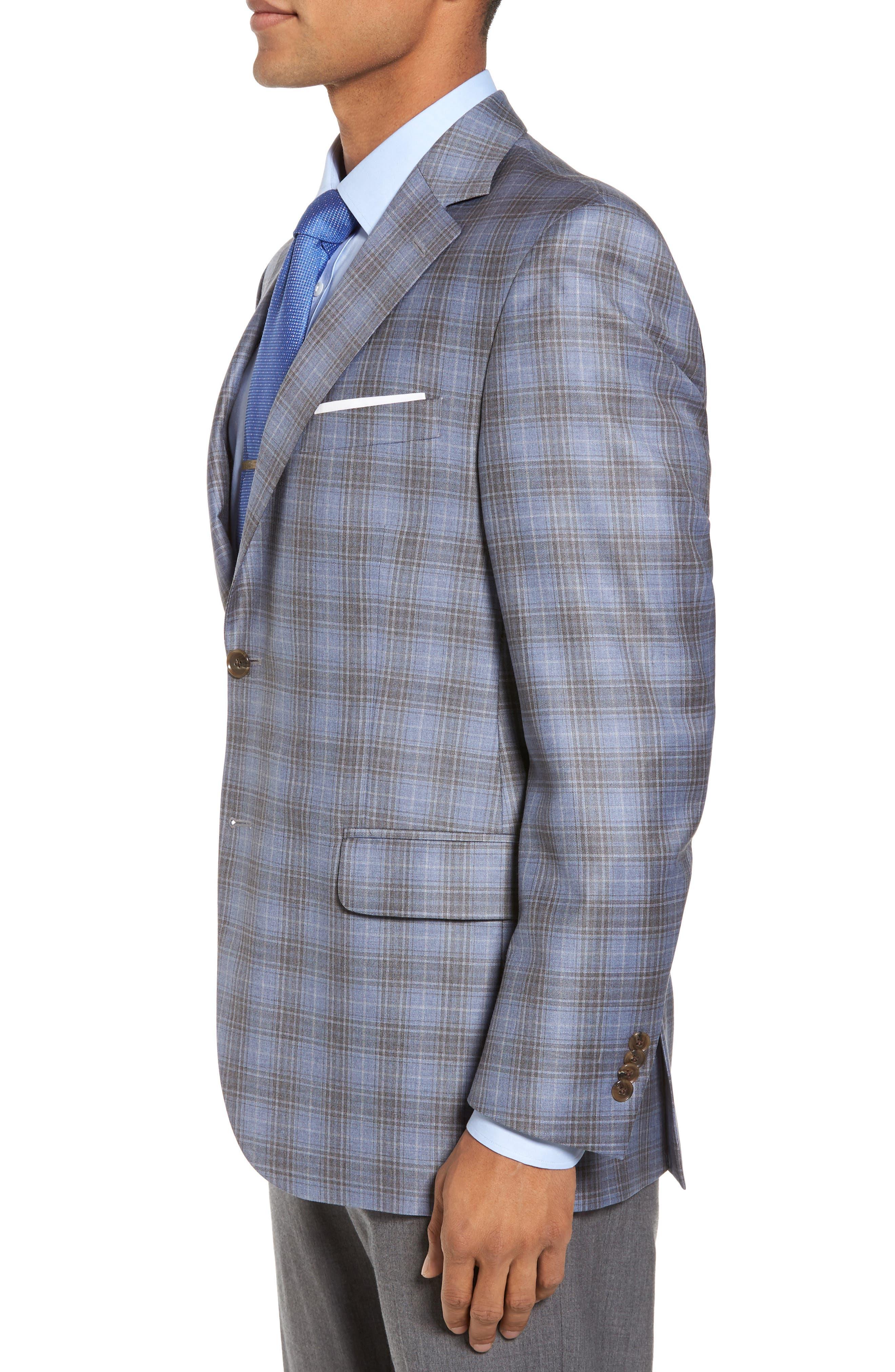 Classic Fit Plaid Wool Sport Coat,                             Alternate thumbnail 3, color,                             Light Blue