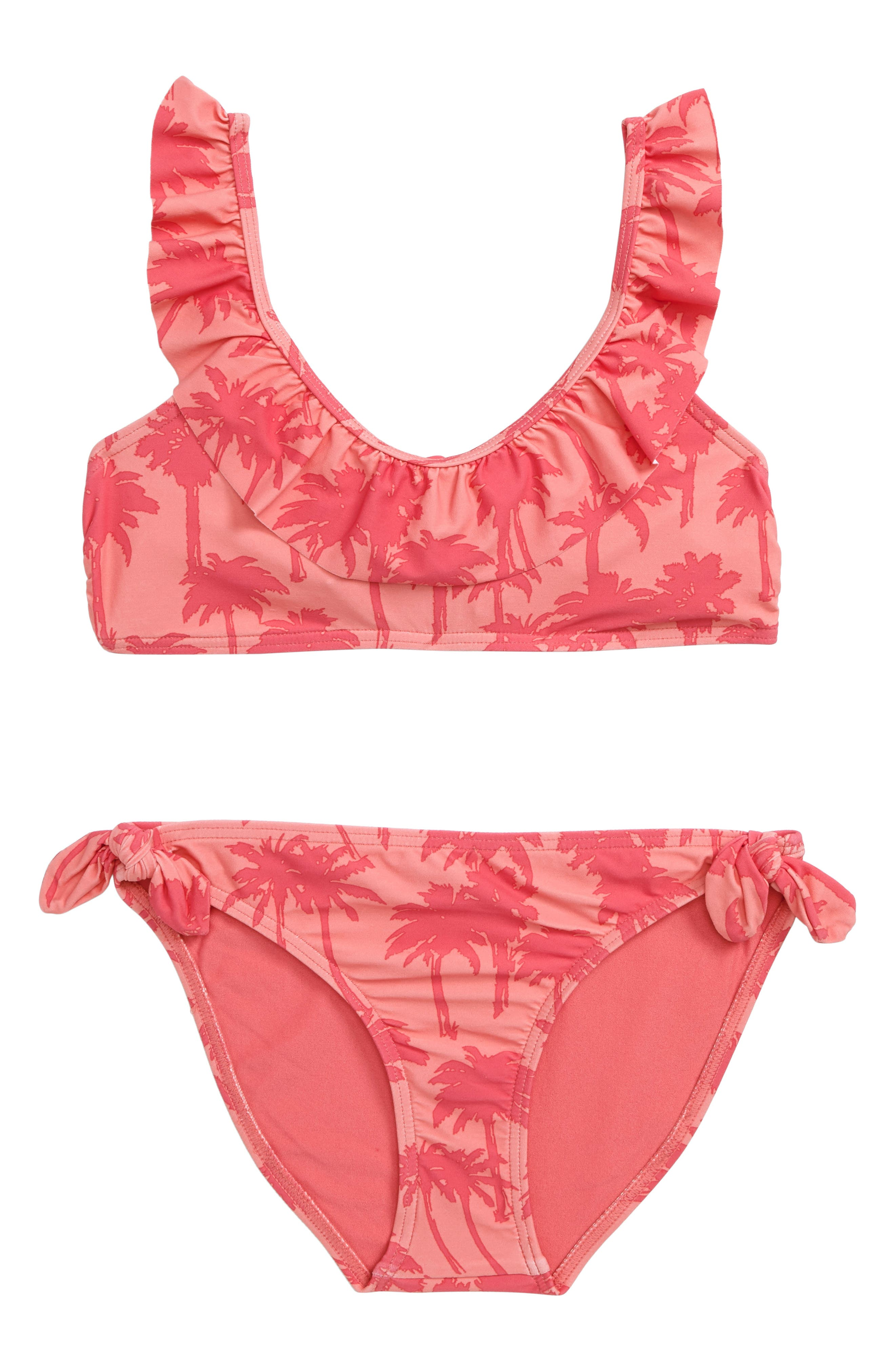 Palm Print Two-Piece Swimsuit,                         Main,                         color, Coral - Crl