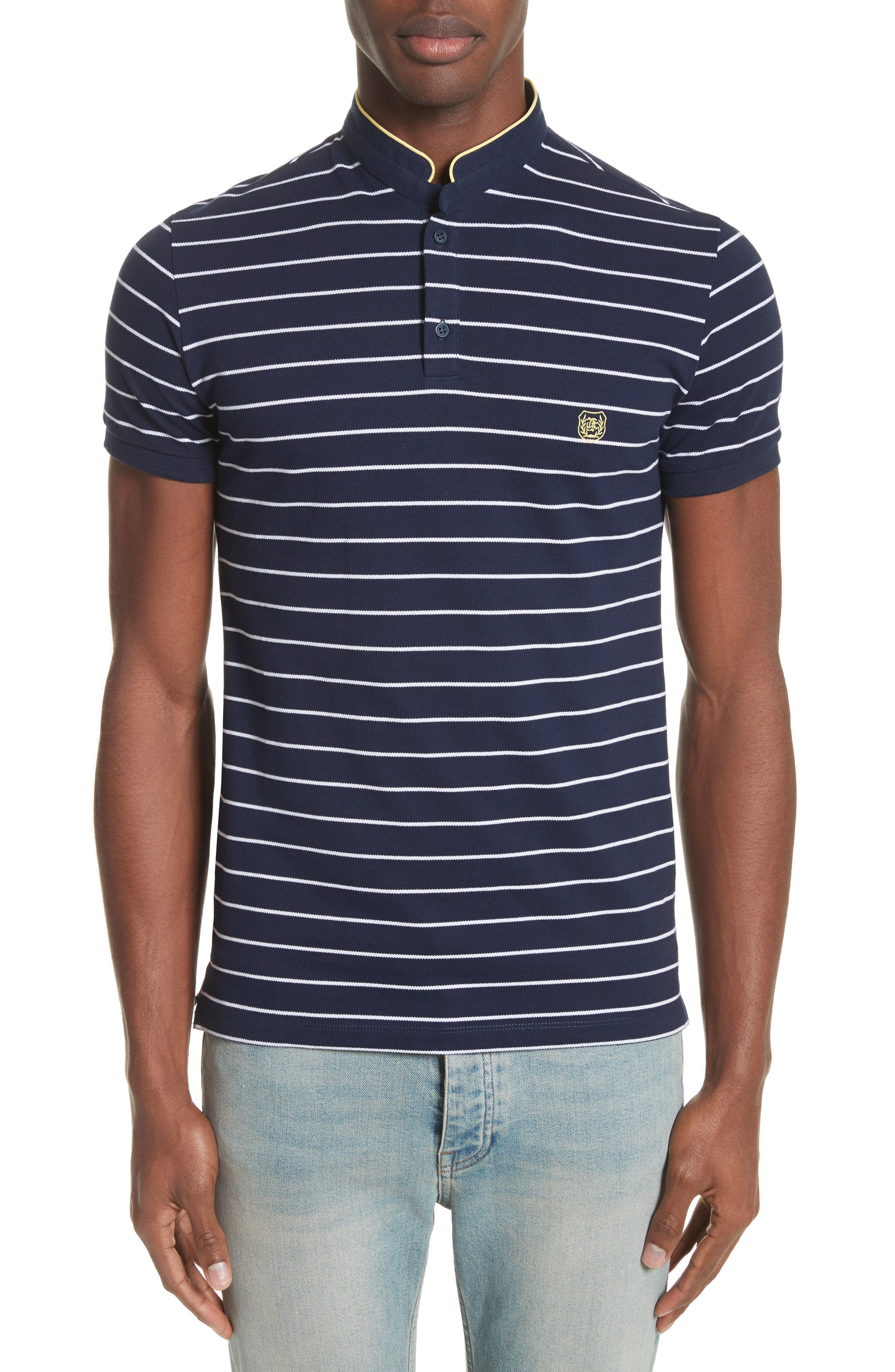 The Kooples Stripe Officer Polo Shirt In Navy Modesens