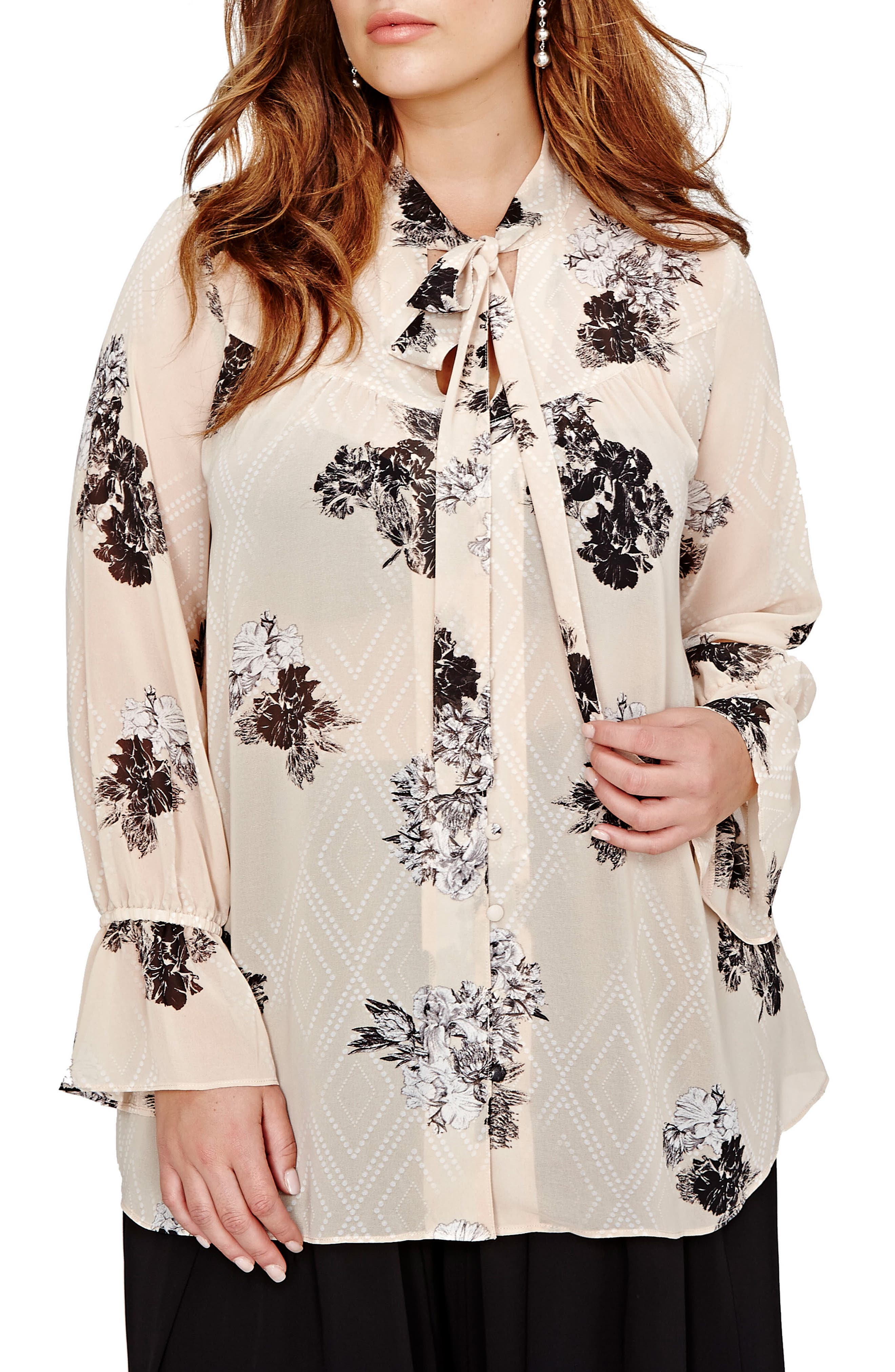 Floral Print Bell Sleeve Top,                         Main,                         color, Moonlight Combo