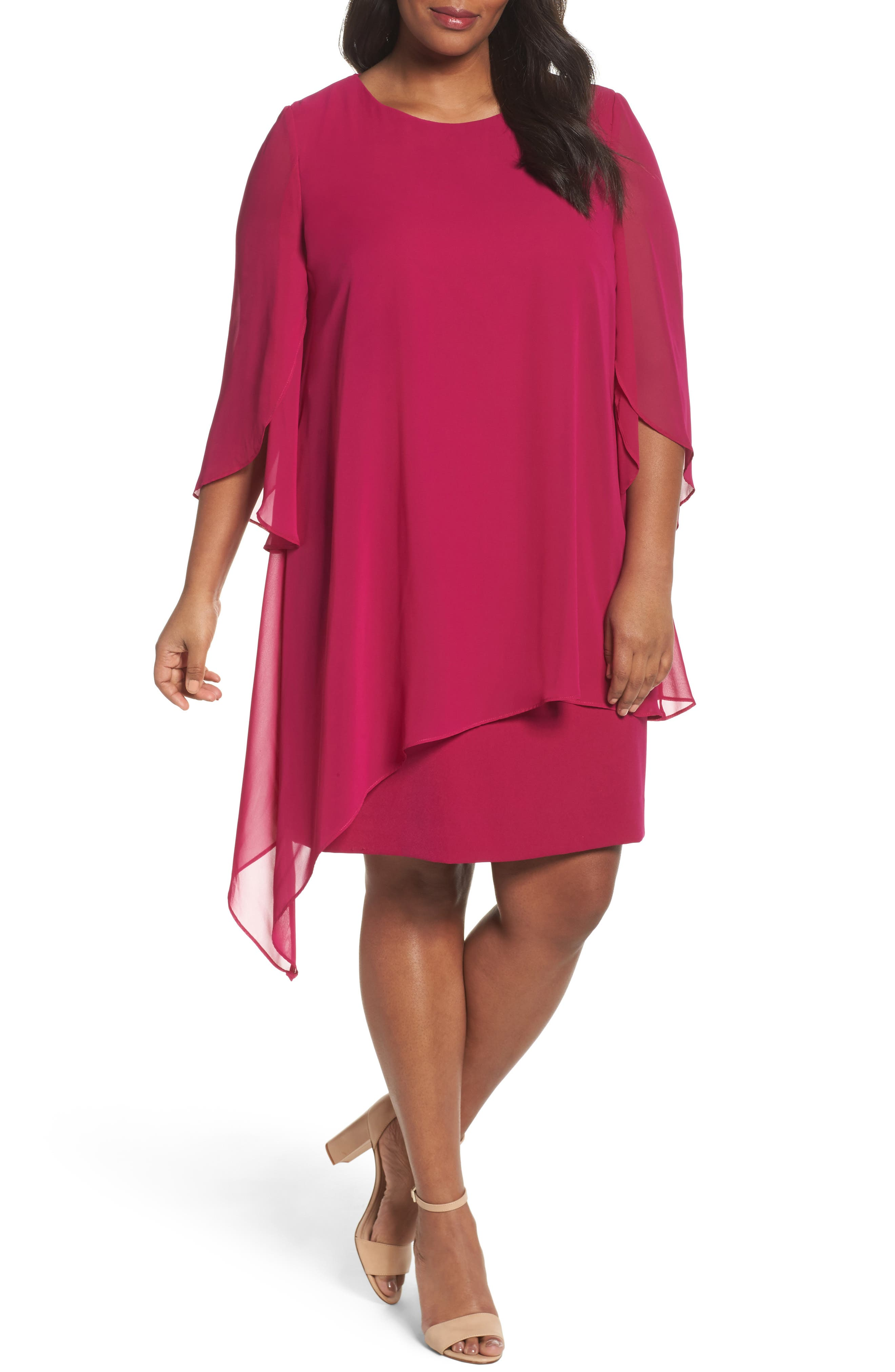 Chiffon Cape Sheath Dress,                             Main thumbnail 1, color,                             Magenta