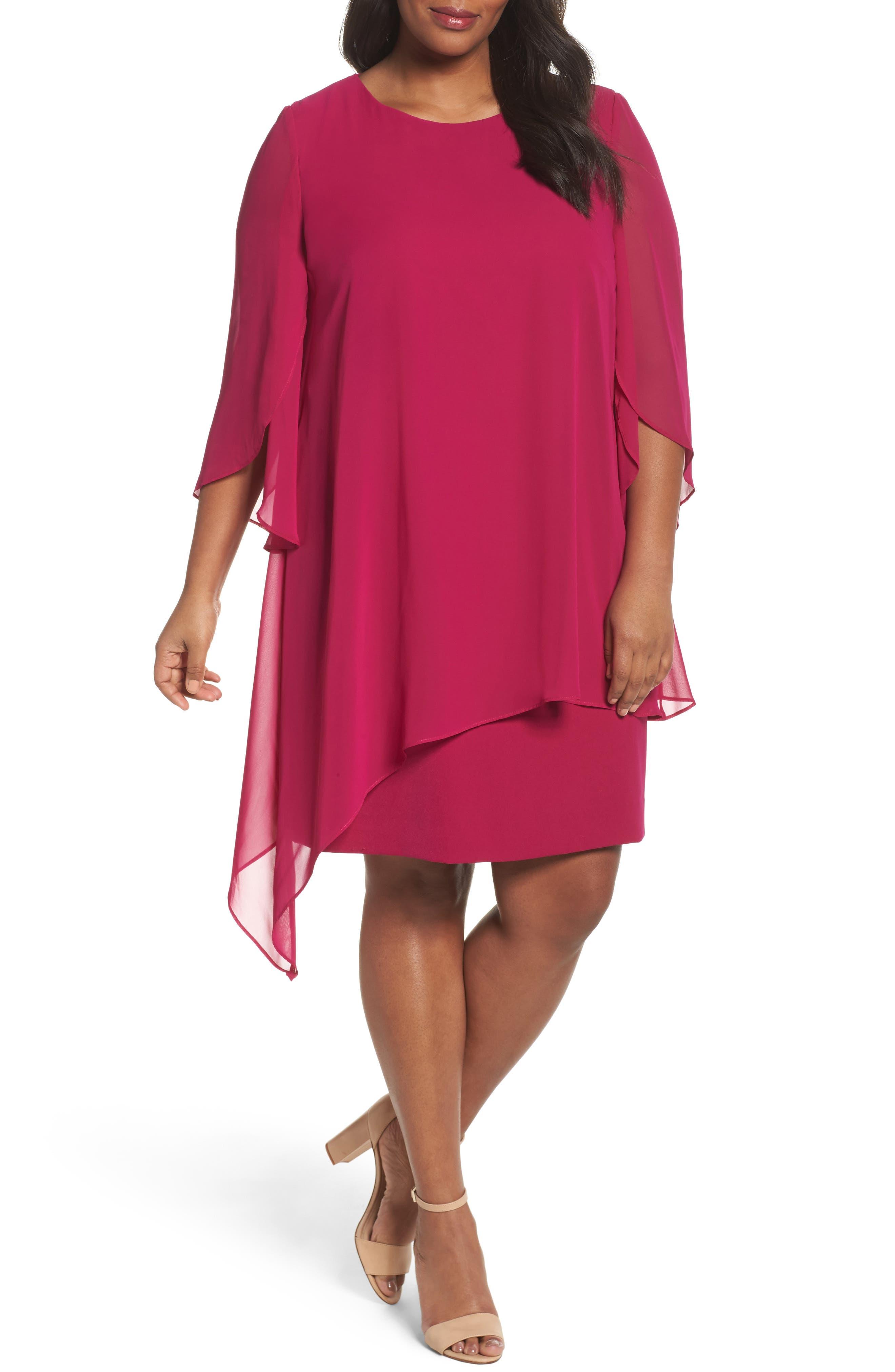 Chiffon Cape Sheath Dress,                         Main,                         color, Magenta