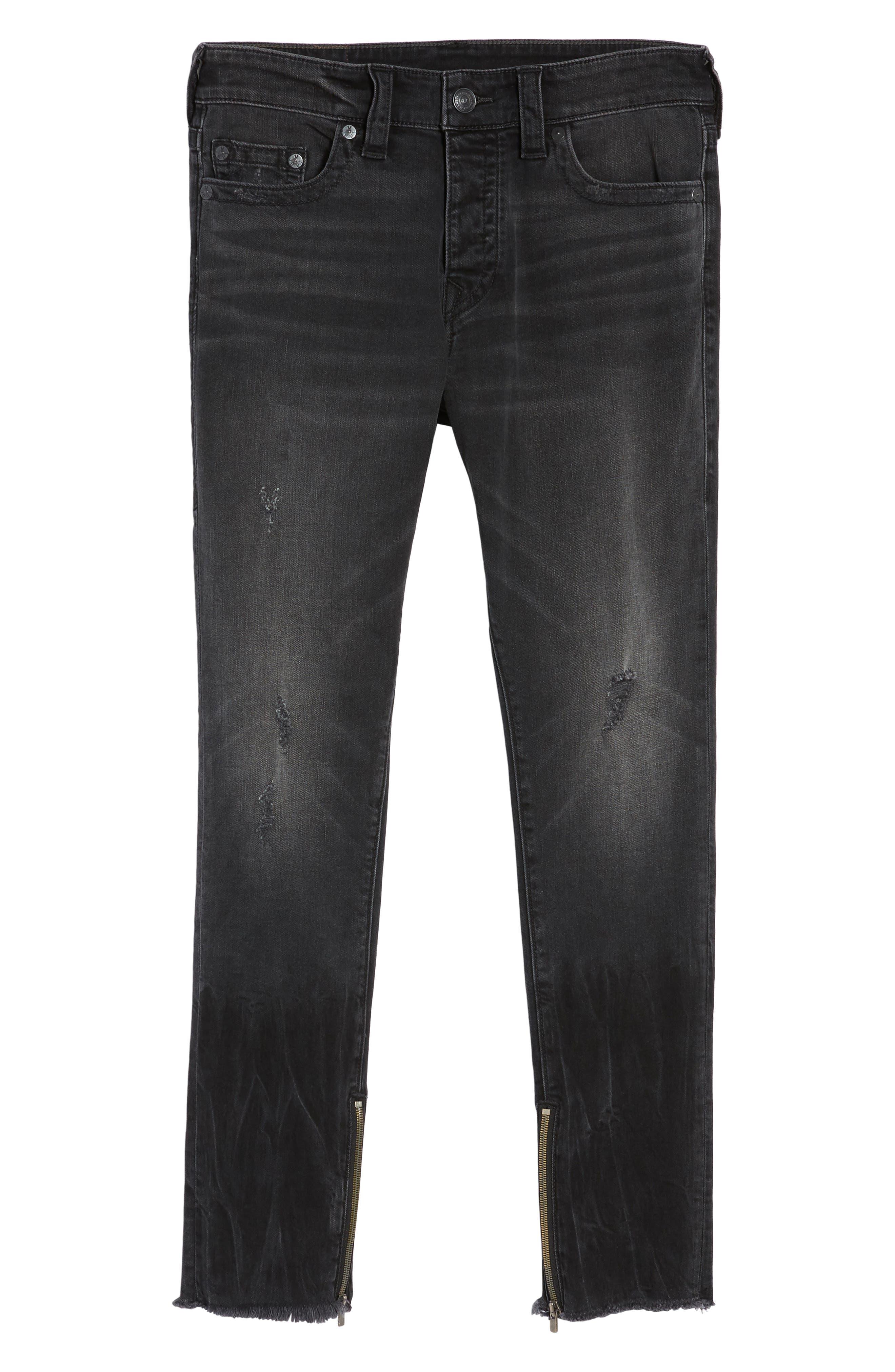 Alternate Image 6  - True Religion Brand Jeans Finn Frayed Skinny Fit Jeans (Dark Envy)