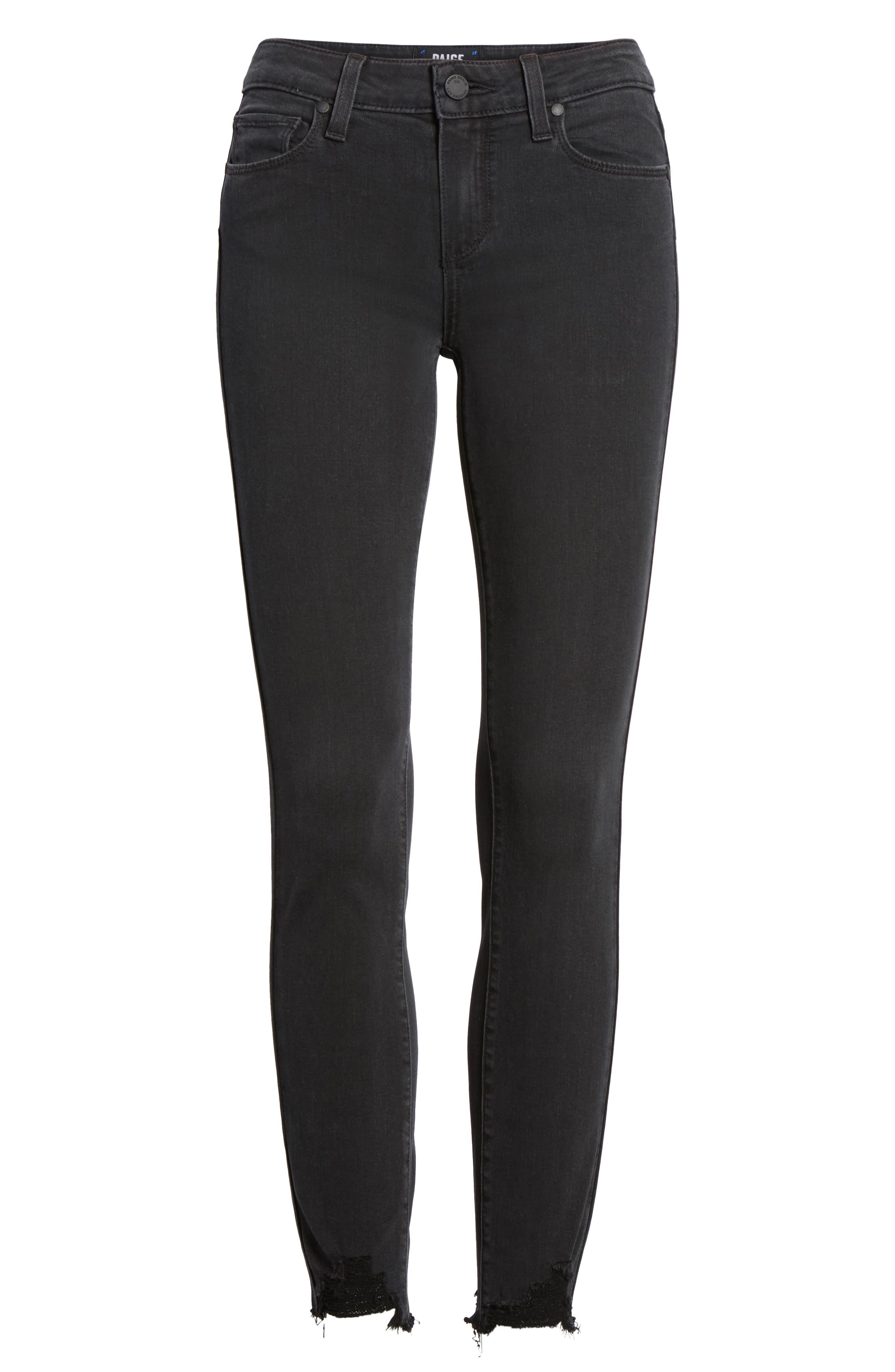 Transcend - Verdugo Ankle Skinny Jeans,                             Alternate thumbnail 7, color,                             Black Fog Super Distressed