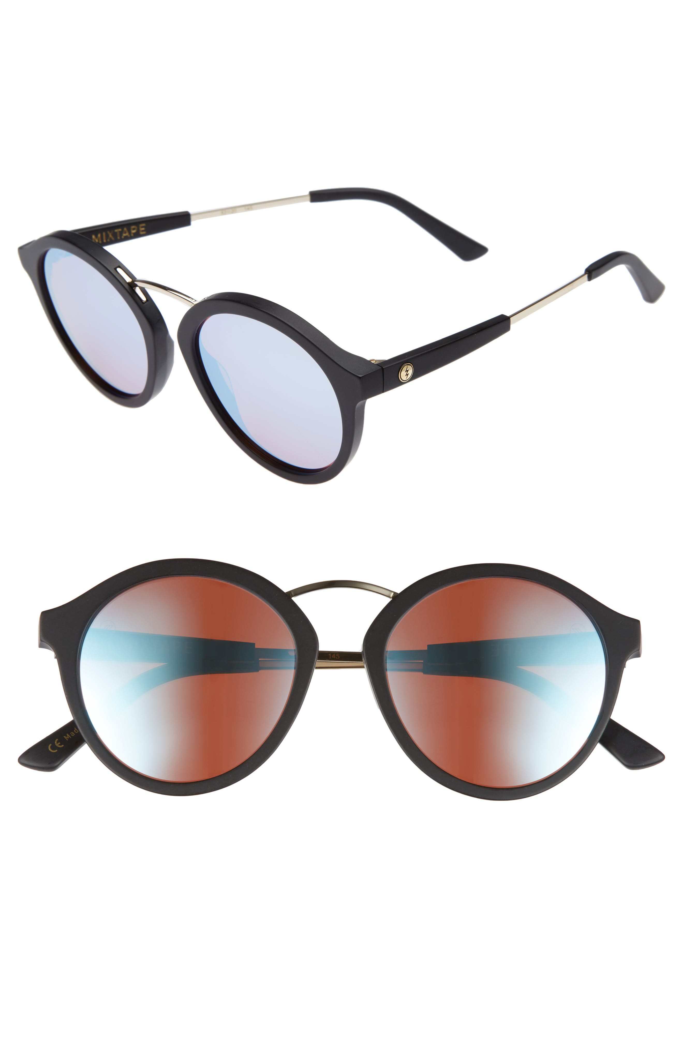 Mix Tape 52mm Mirrored Round Sunglasses,                             Main thumbnail 1, color,                             Matte Black/ Sky Blue Chrome
