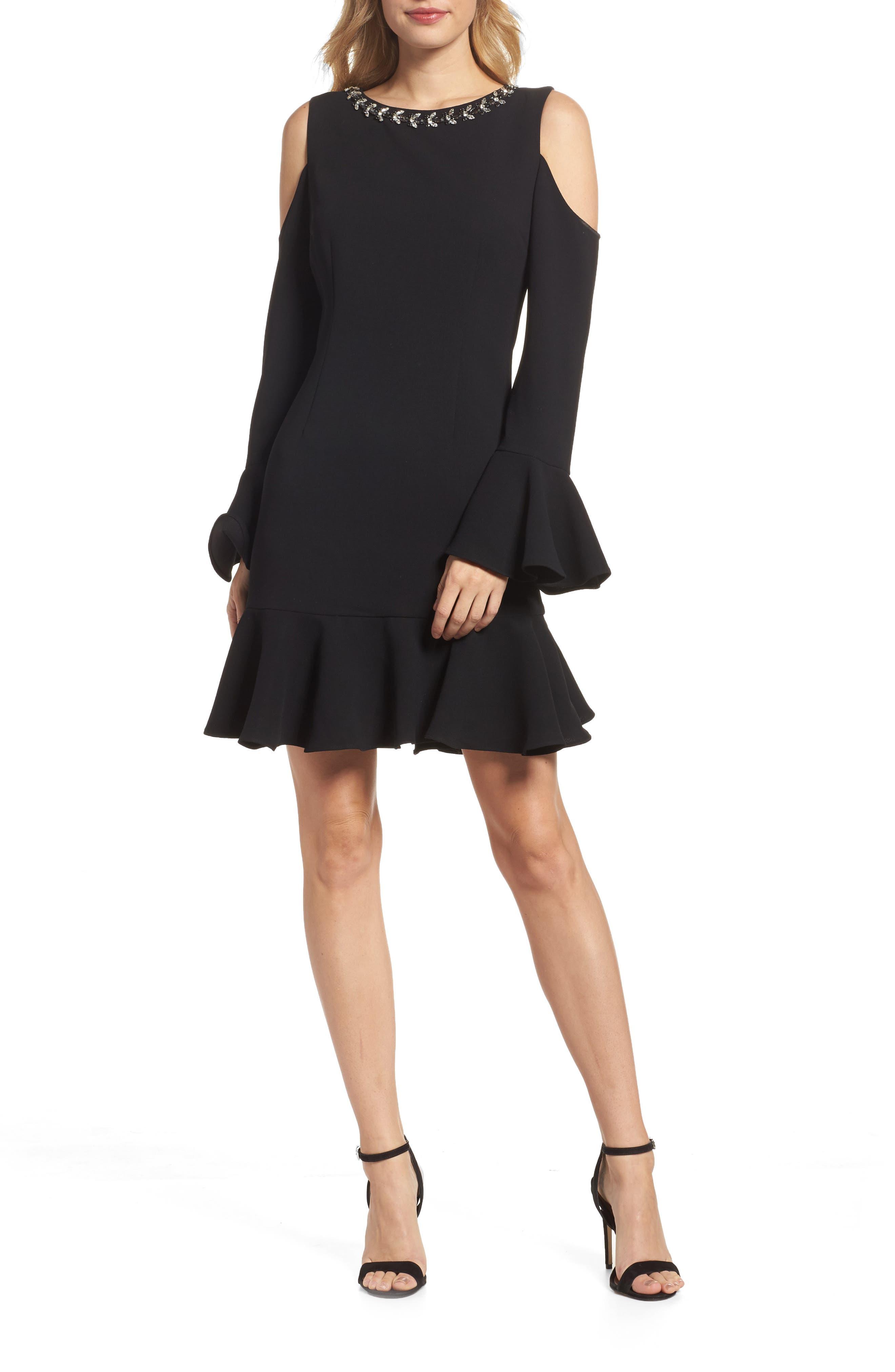 Cold Shoulder Flare Hem Dress,                             Main thumbnail 1, color,                             Black