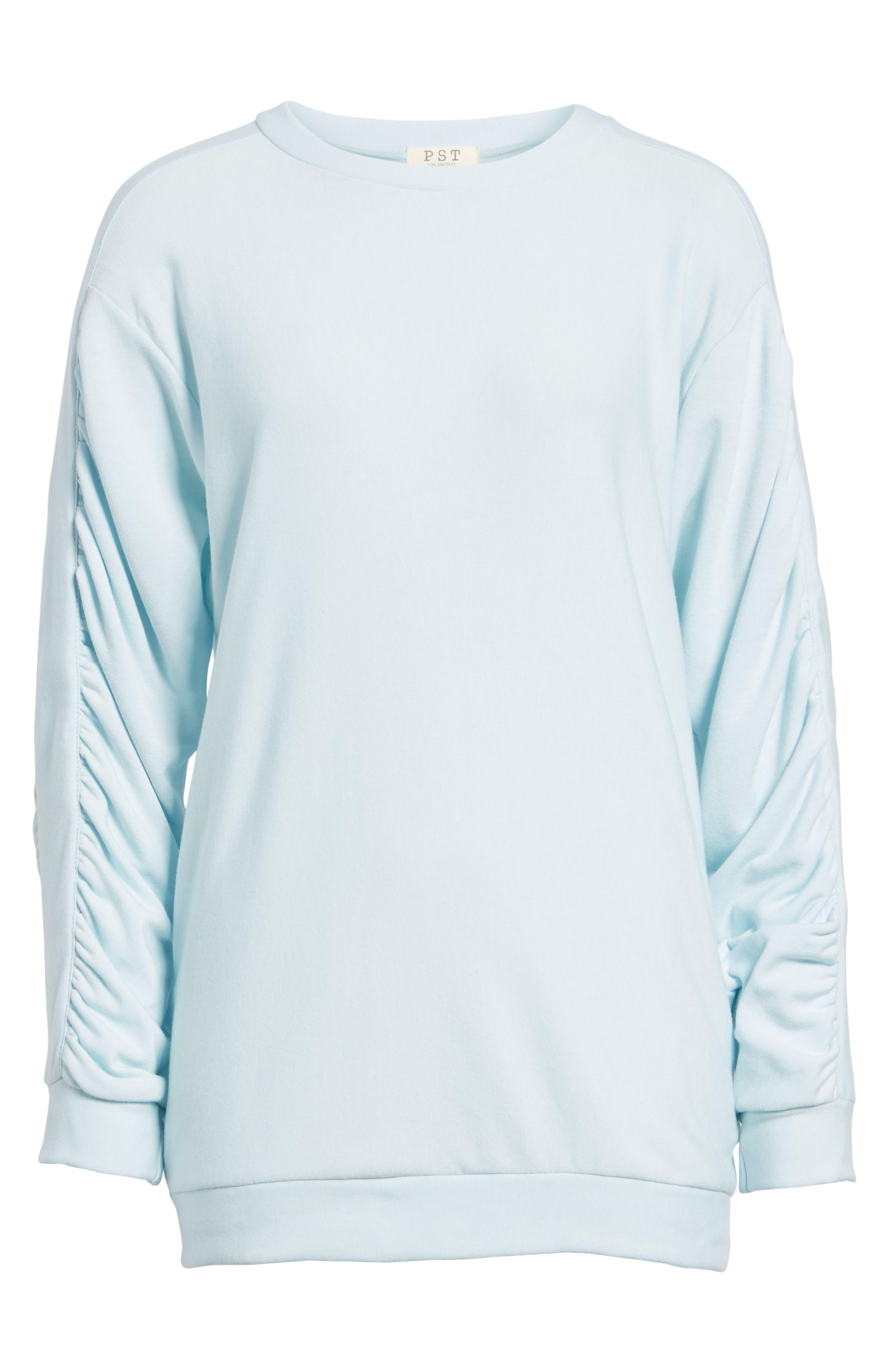 Ruched Sleeve Sweatshirt,                             Alternate thumbnail 6, color,                             Light Blue