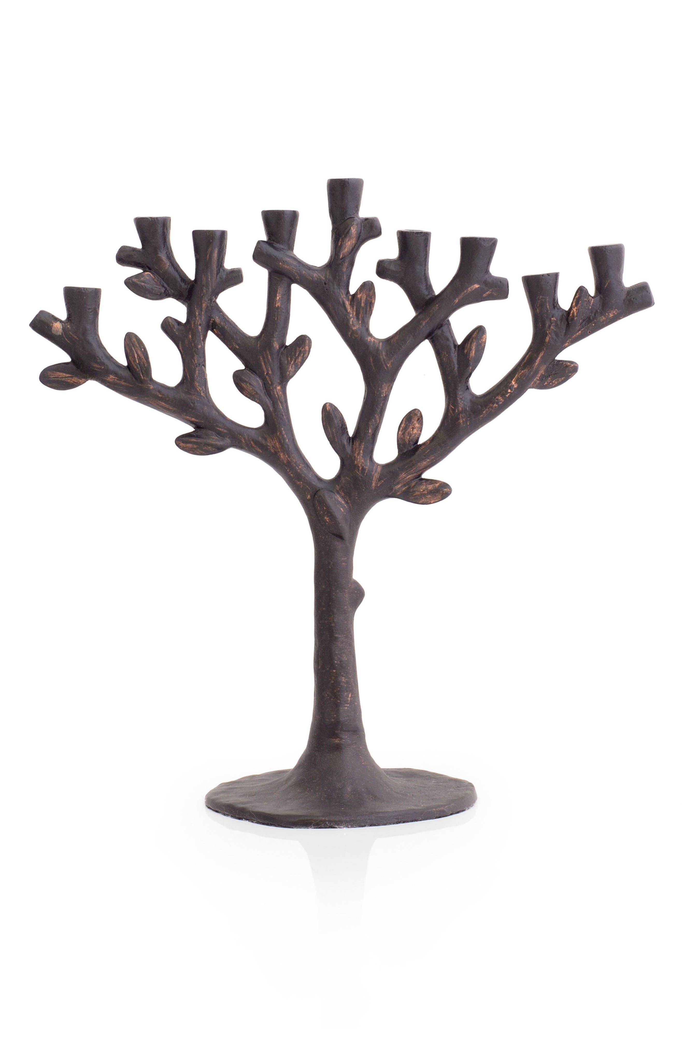 Tree of Life Menorah,                         Main,                         color, Oxidized