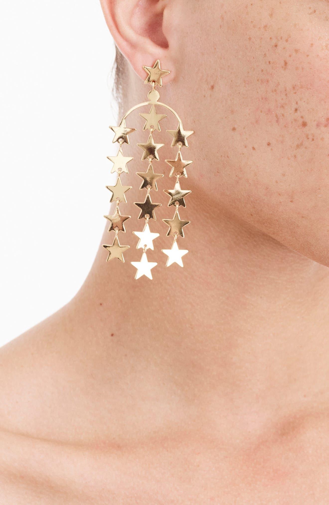 Falling Star Earrings,                             Alternate thumbnail 2, color,                             Gold