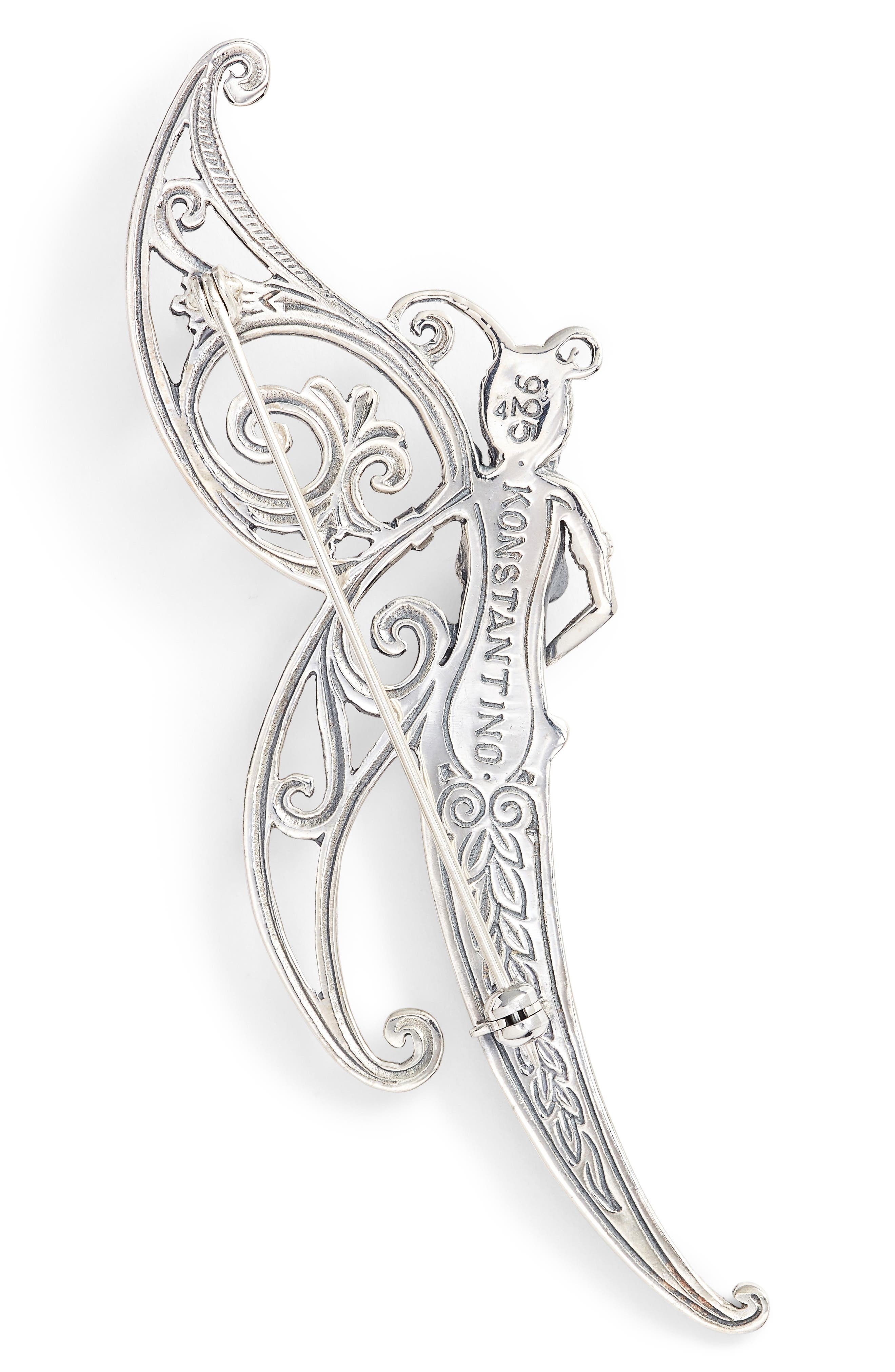 Santorini Butterfly Pin,                             Alternate thumbnail 2, color,                             Silver/ Hematite